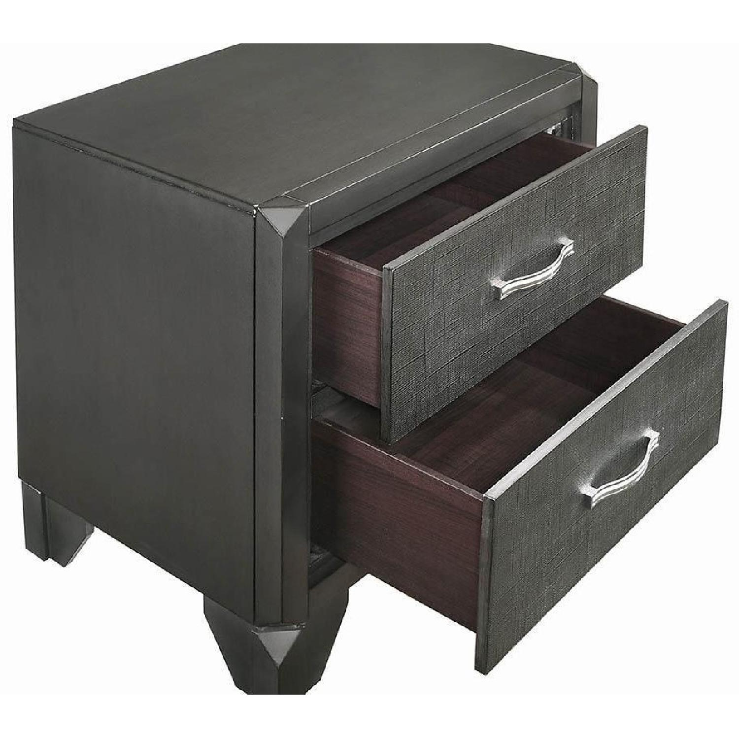 2-Drawer Nightstand in Caviar Finish w/ Woven Texture Front - image-3