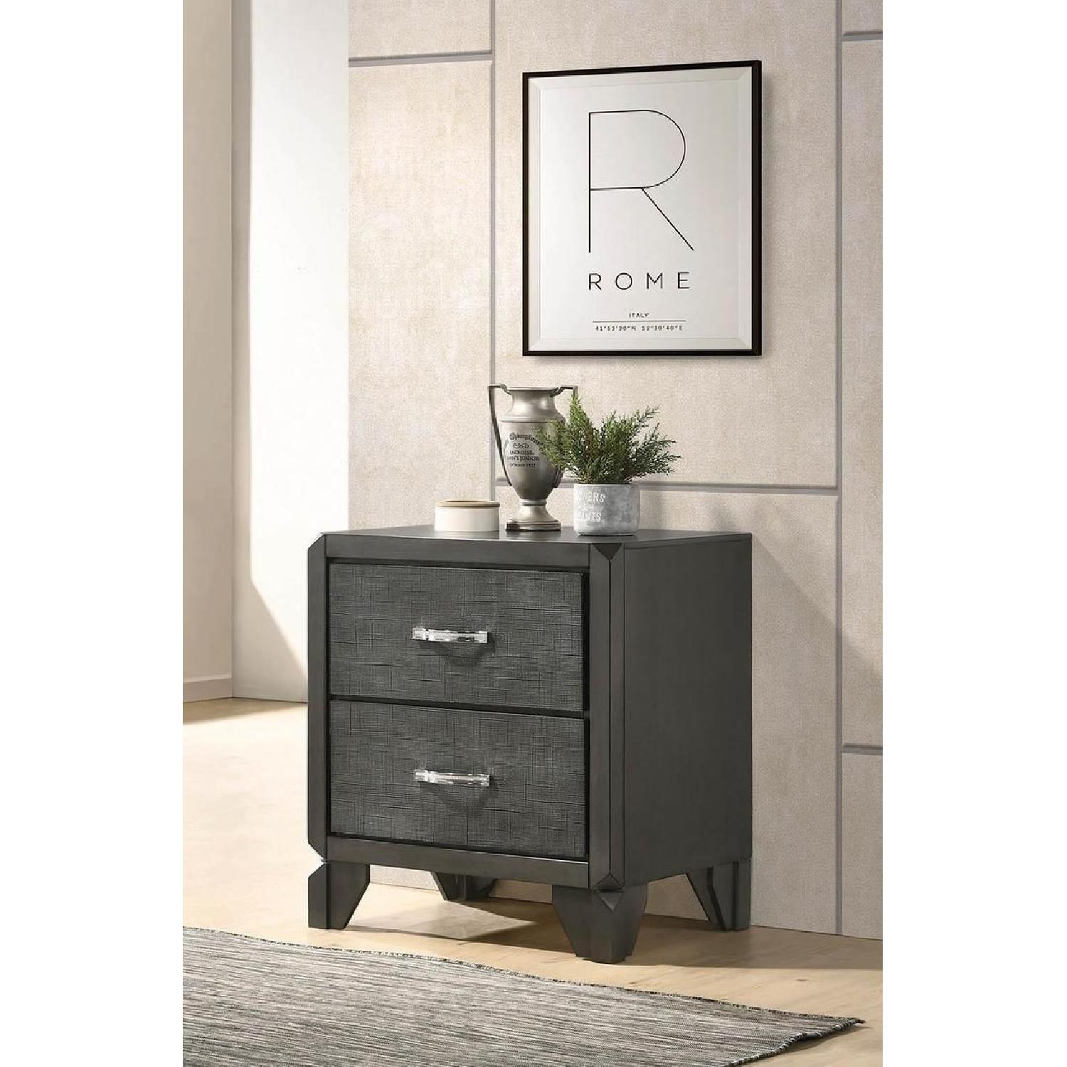 2-Drawer Nightstand in Caviar Finish w/ Woven Texture Front - image-6