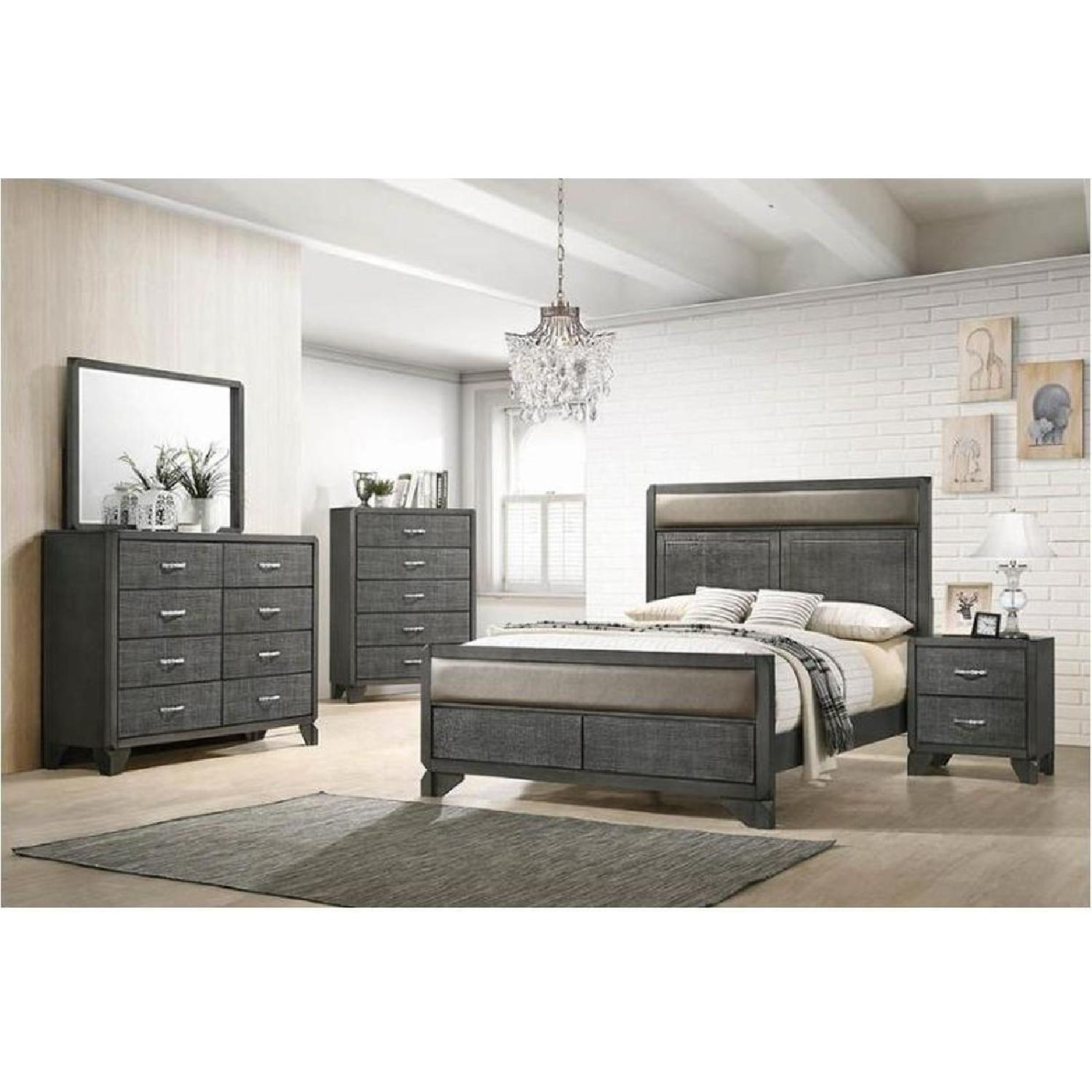 Leatherette Queen Bed in Caviar Finish w/ Woven Texture - image-2