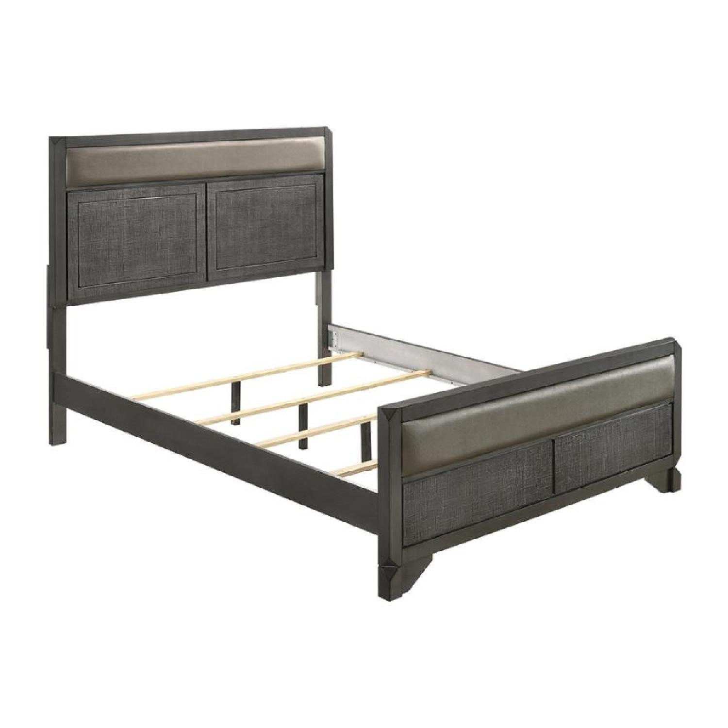Leatherette Queen Bed in Caviar Finish w/ Woven Texture - image-4