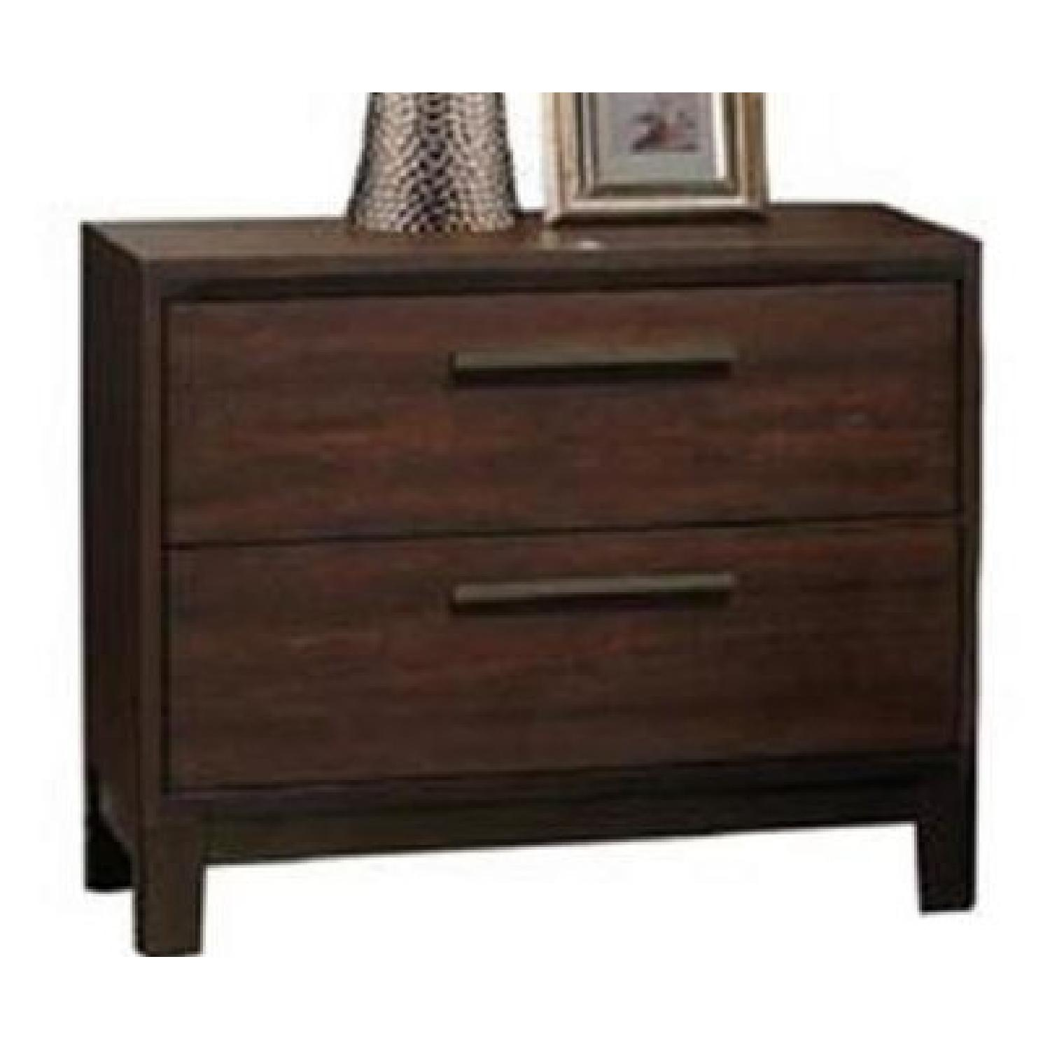 Modern 2-Drawer Nightstand in Rustic Tobacco Finish - image-0