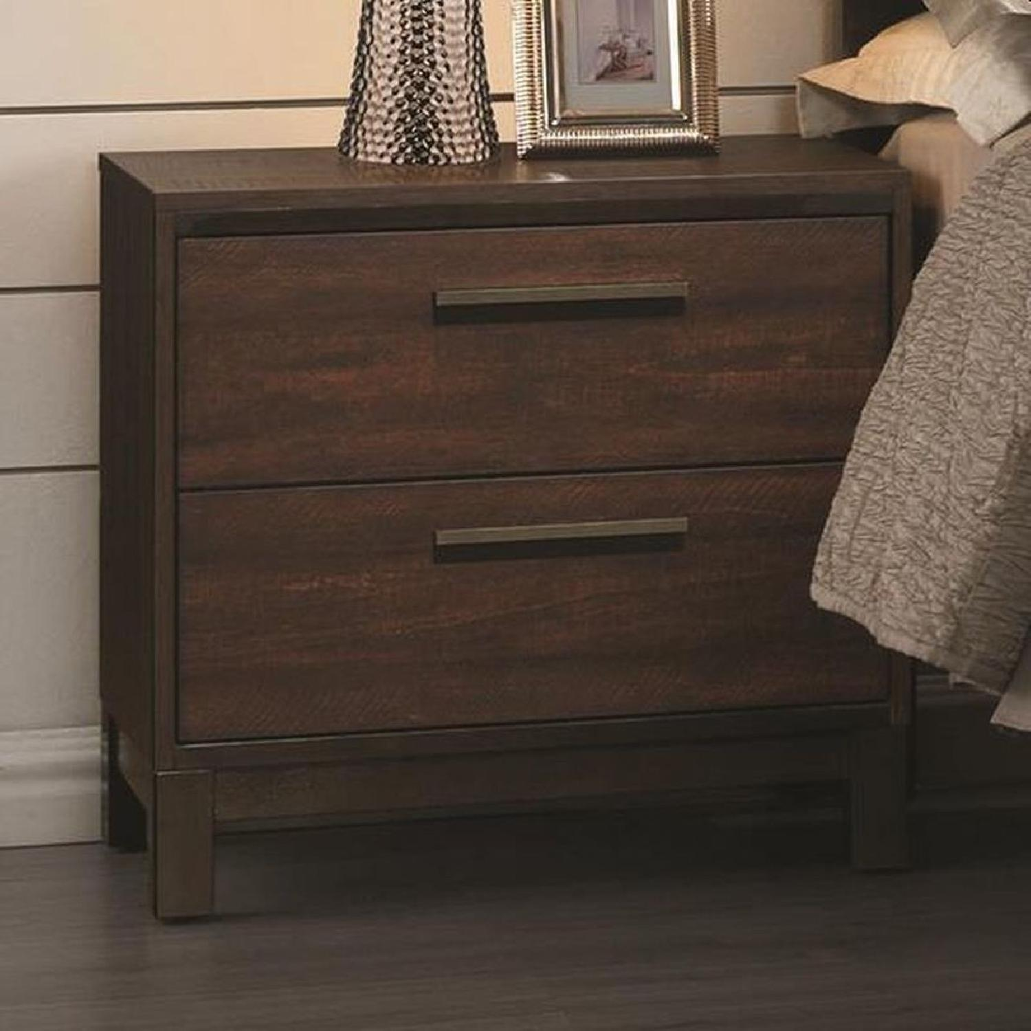 Modern 2-Drawer Nightstand in Rustic Tobacco Finish - image-1