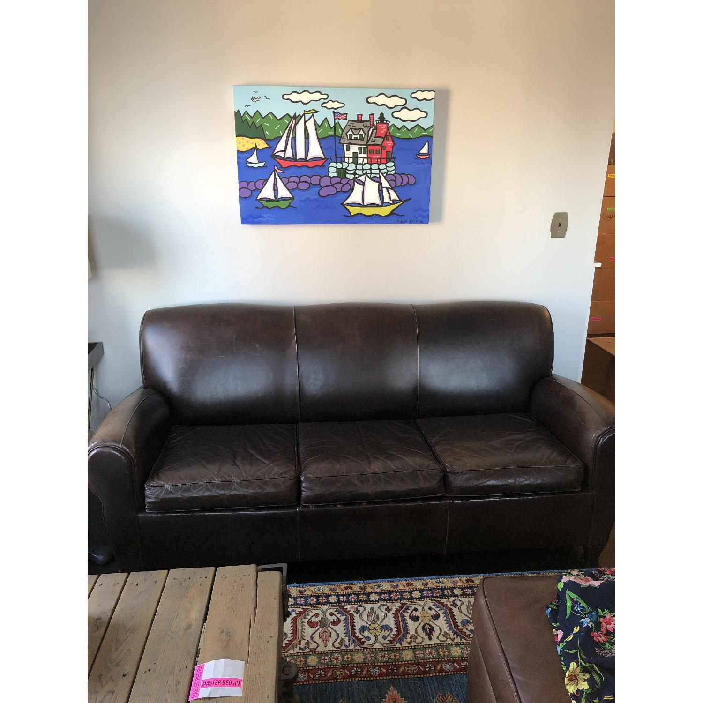 Pottery Barn Manhattan Leather Sleeper Sofa - image-2