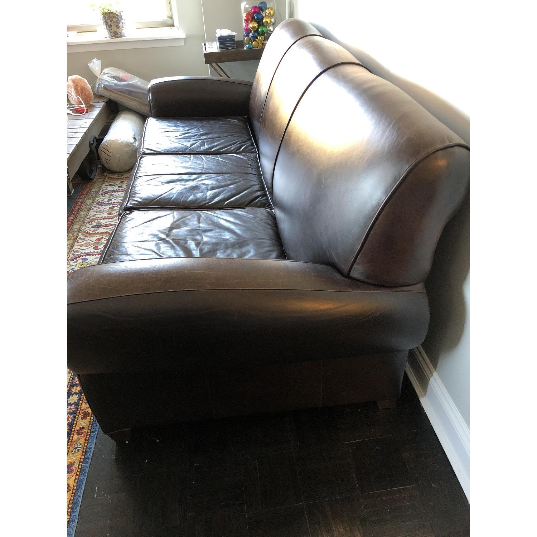 Pottery Barn Manhattan Leather Sleeper Sofa - image-3