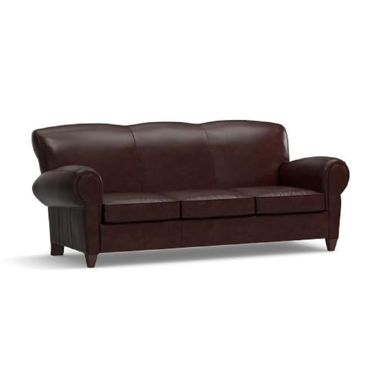 Pottery Barn Manhattan Leather Sleeper Sofa - image-0