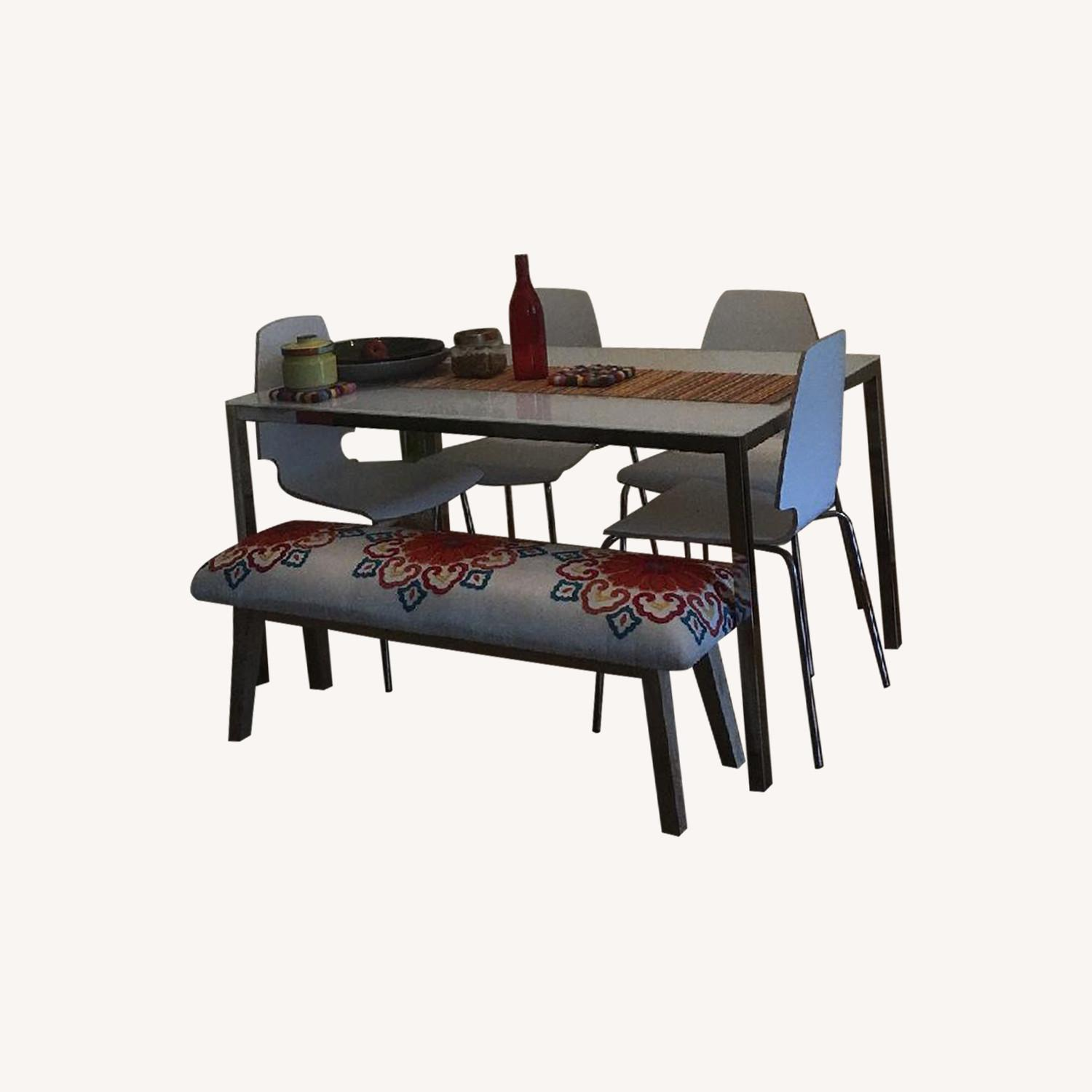 Ikea Contemporary Glass Top Dining Table w/ 4 Chairs - image-0
