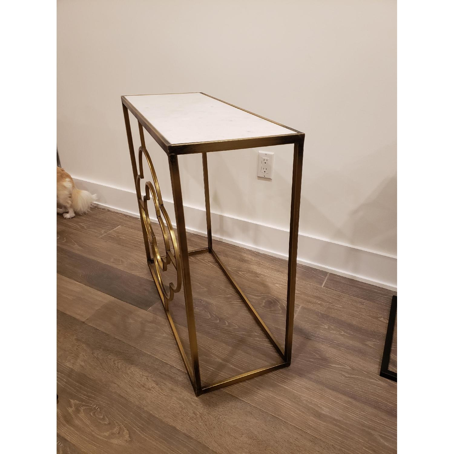 Marble Brass Gold Tone Side Table - image-3