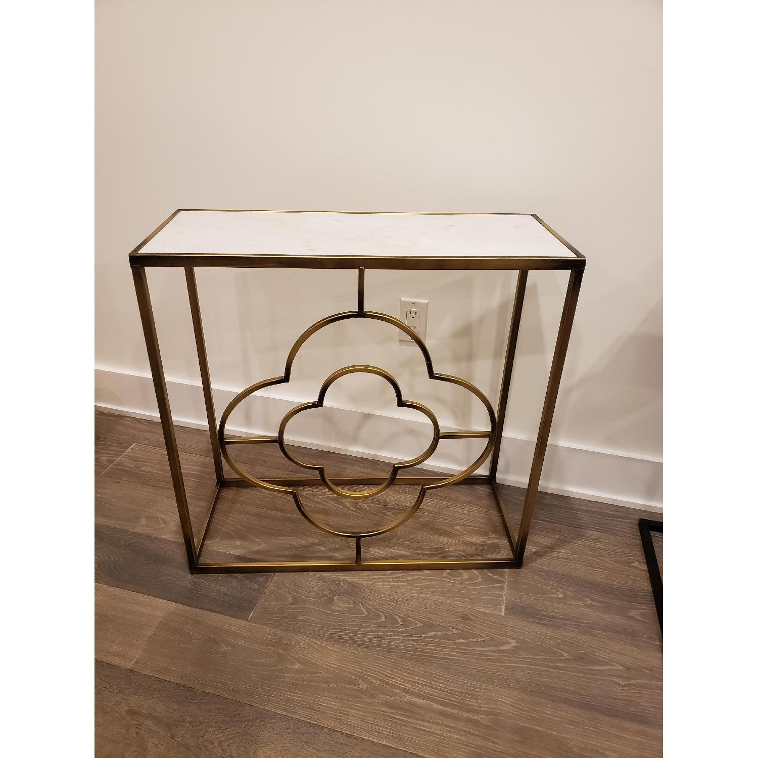 Marble Brass Gold Tone Side Table - image-4