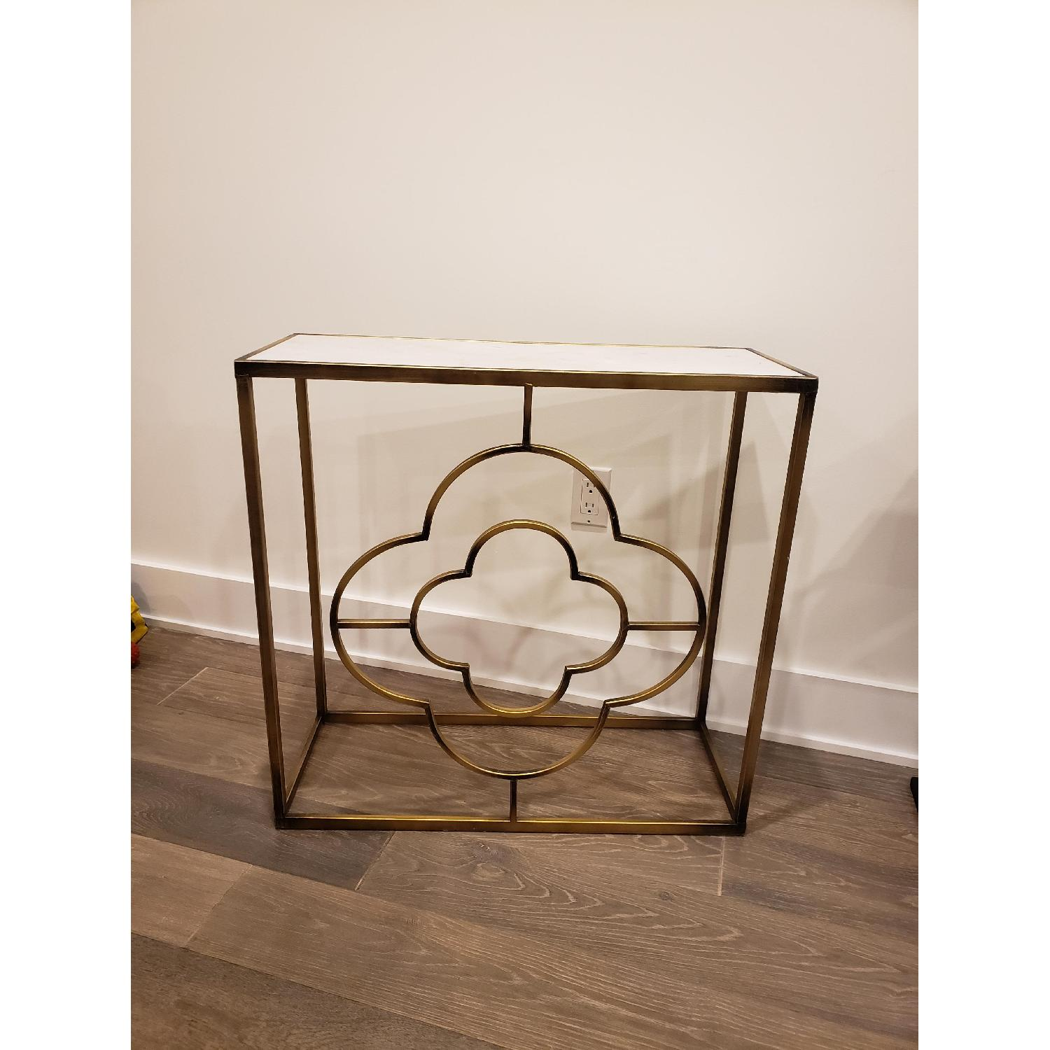 Marble Brass Gold Tone Side Table - image-0