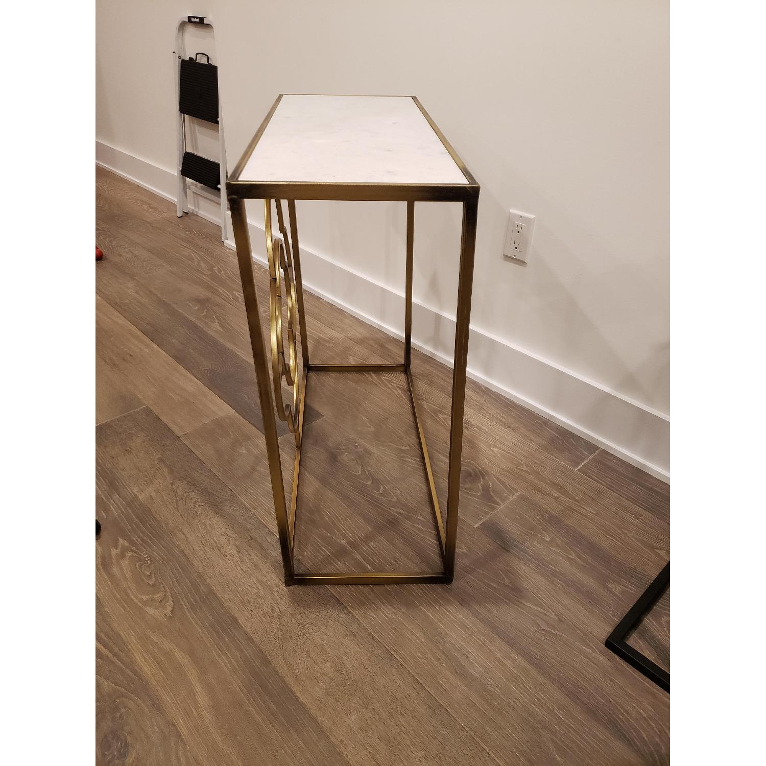 Marble Brass Gold Tone Side Table - image-5
