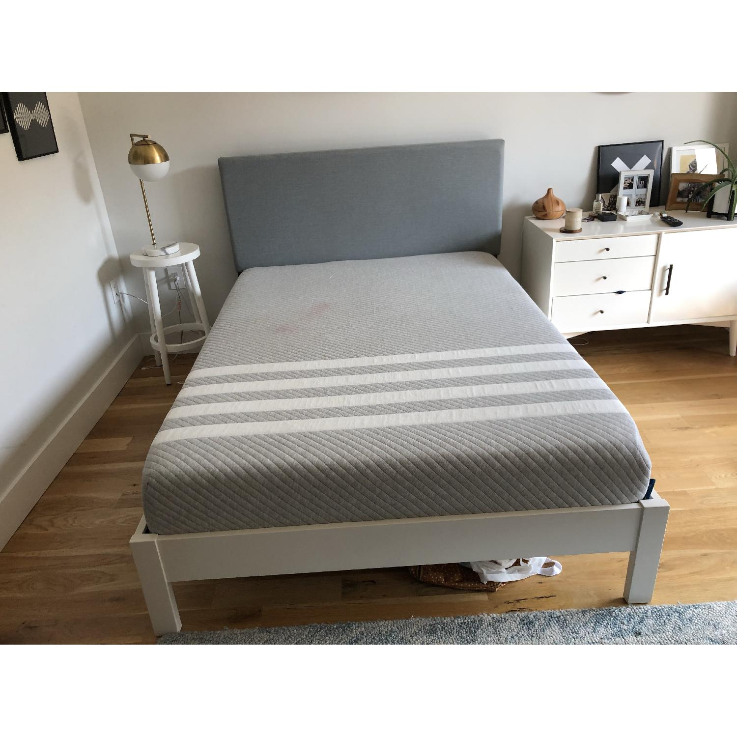 West Elm Simple Full Bed Frame in White Lacquer w/ Headboard - image-2