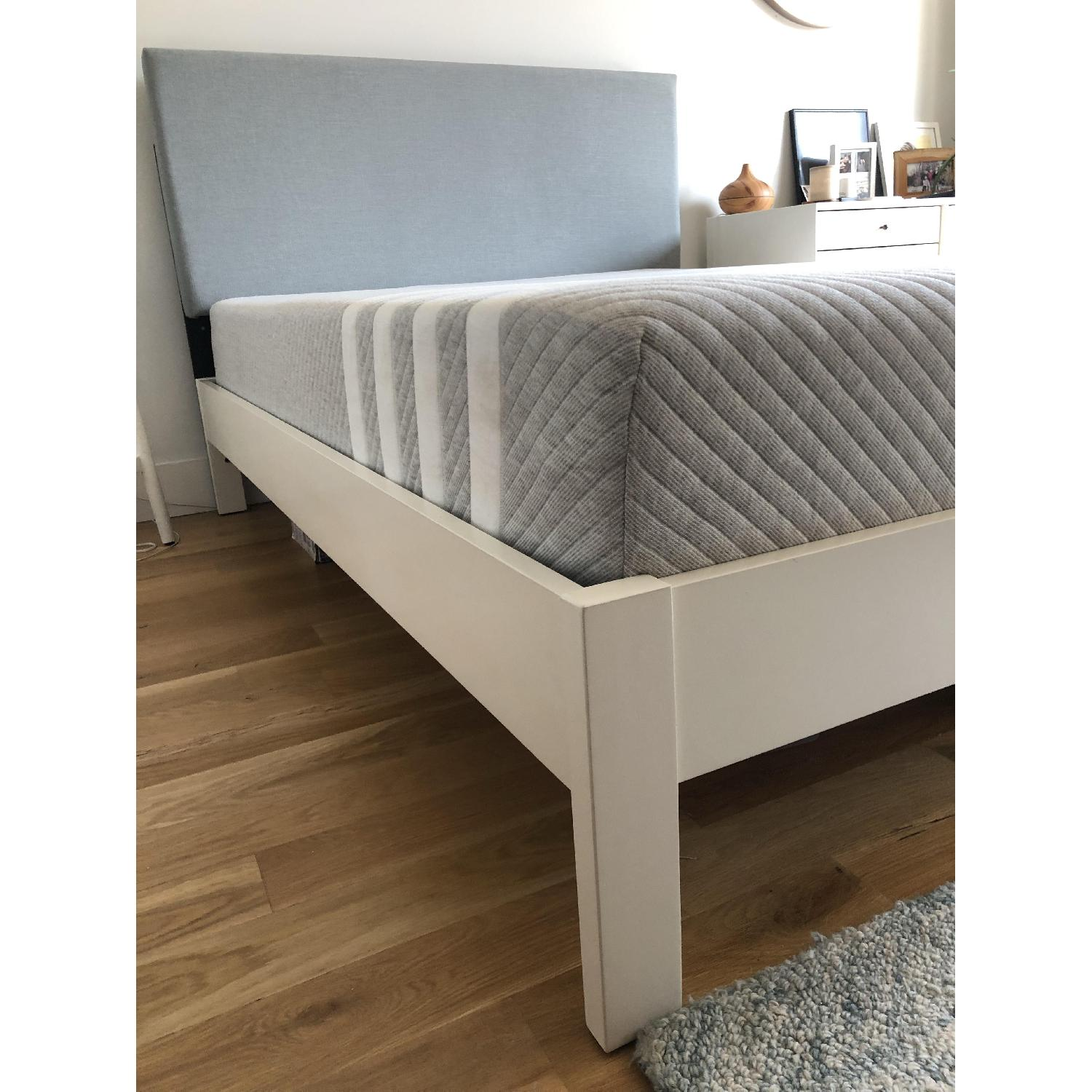 West Elm Simple Full Bed Frame in White Lacquer w/ Headboard - image-3