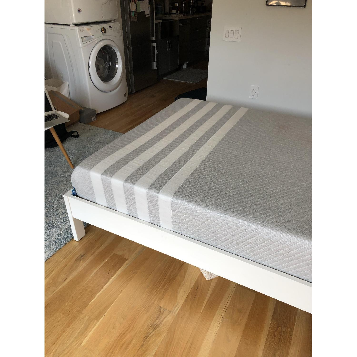 West Elm Simple Full Bed Frame in White Lacquer w/ Headboard - image-4