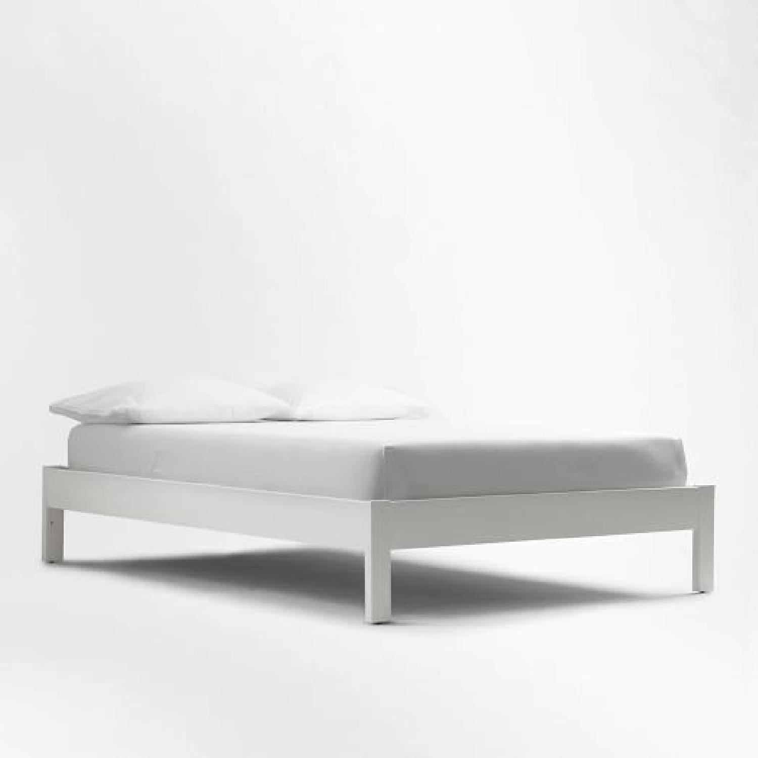 West Elm Simple Full Bed Frame in White Lacquer w/ Headboard - image-6