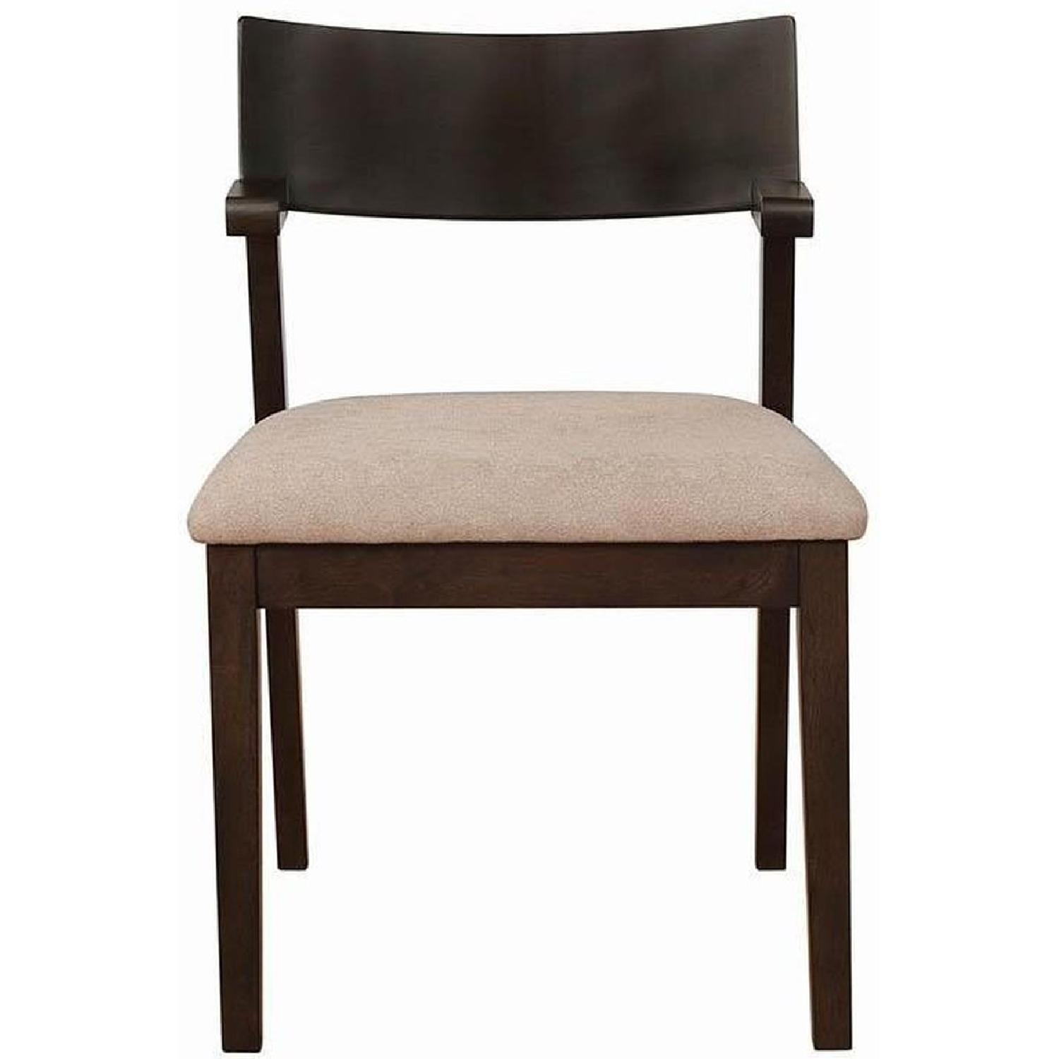 Mid Century Style Dining Chair w/ Light Brown Cushioned Seat - image-5