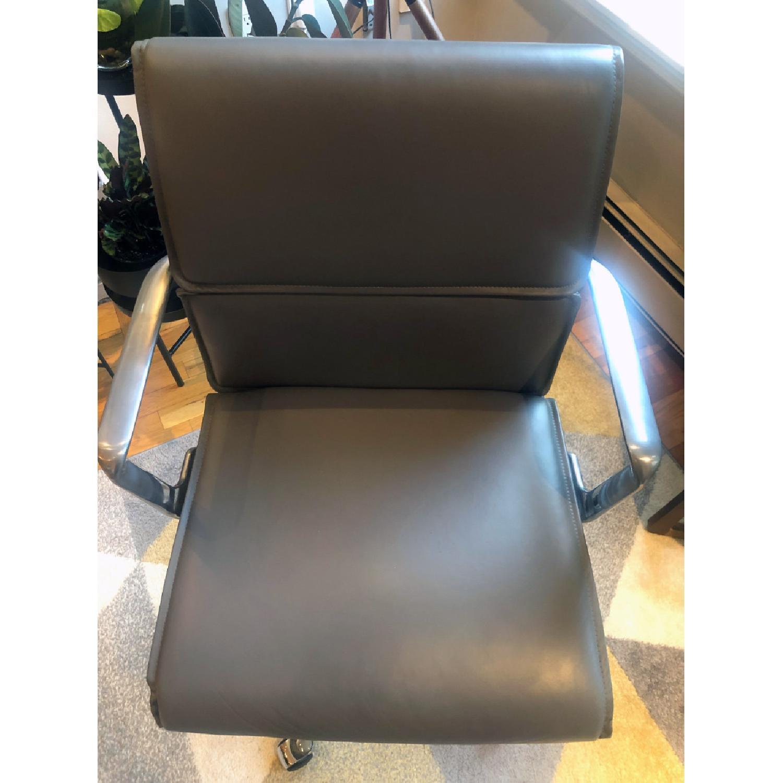Meelano Mid Century Leather Office Swivel Chair - image-3
