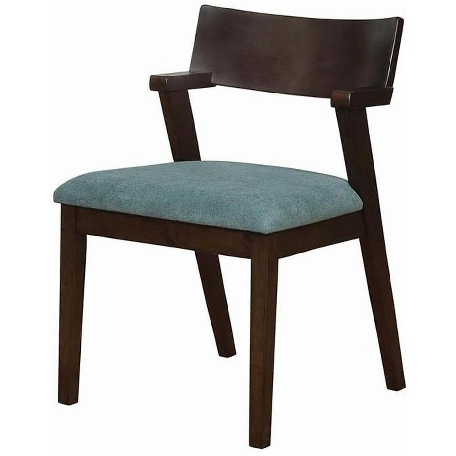 Mid Century Style Dining Chair w/ Teal Cushioned Seat - image-2