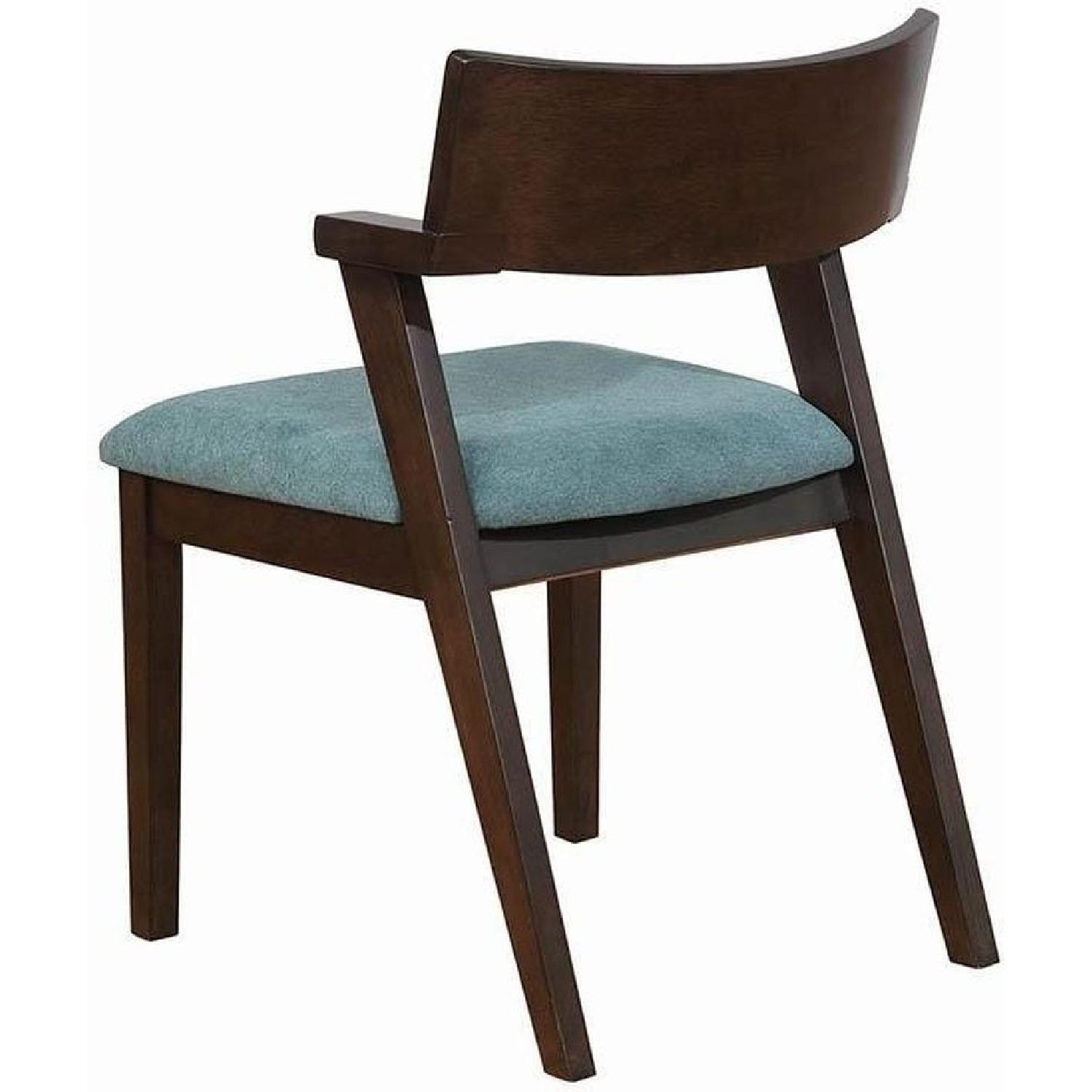 Mid Century Style Dining Chair w/ Teal Cushioned Seat - image-5