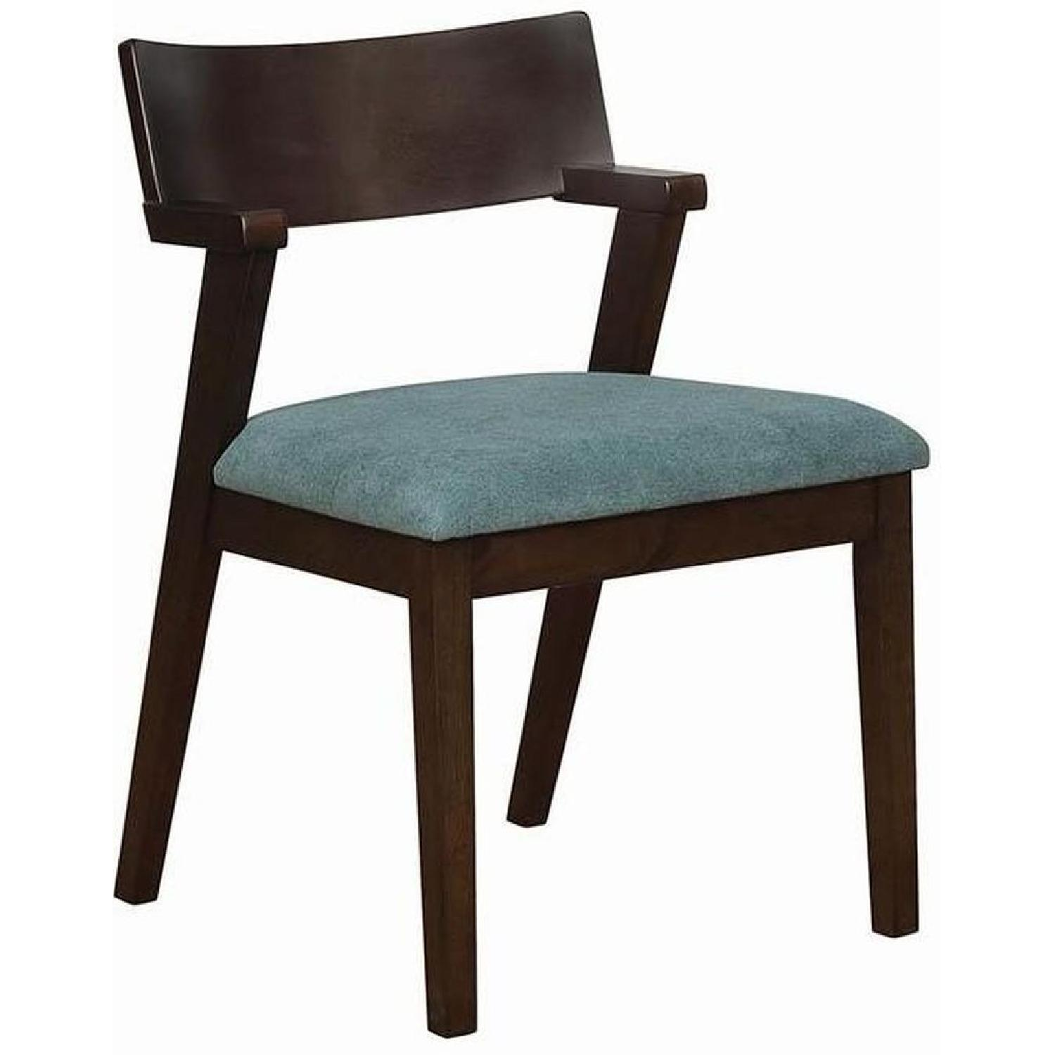 Mid Century Style Dining Chair w/ Teal Cushioned Seat - image-0