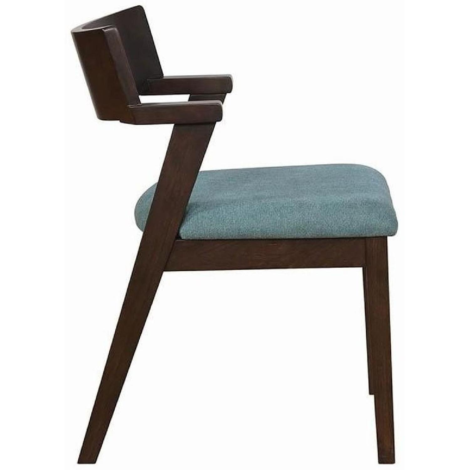 Mid Century Style Dining Chair w/ Teal Cushioned Seat - image-3