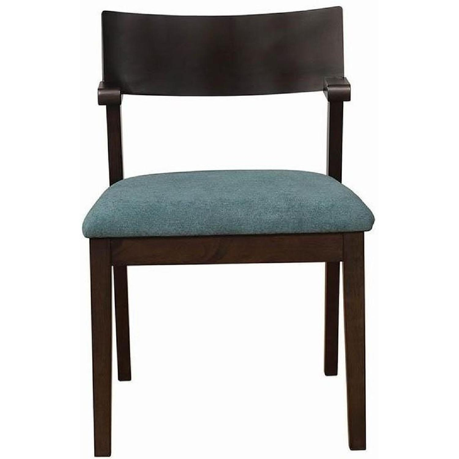 Mid Century Style Dining Chair w/ Teal Cushioned Seat - image-4