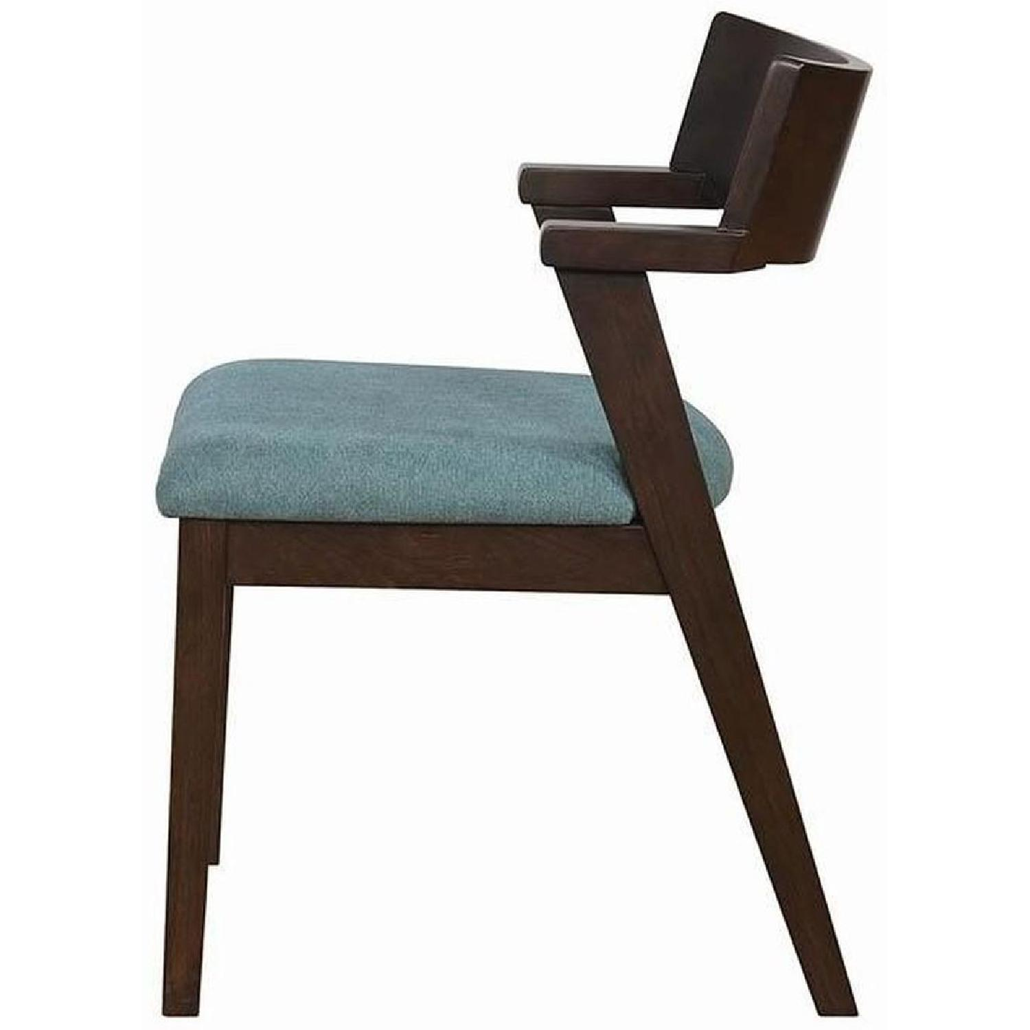Mid Century Style Dining Chair w/ Teal Cushioned Seat - image-1