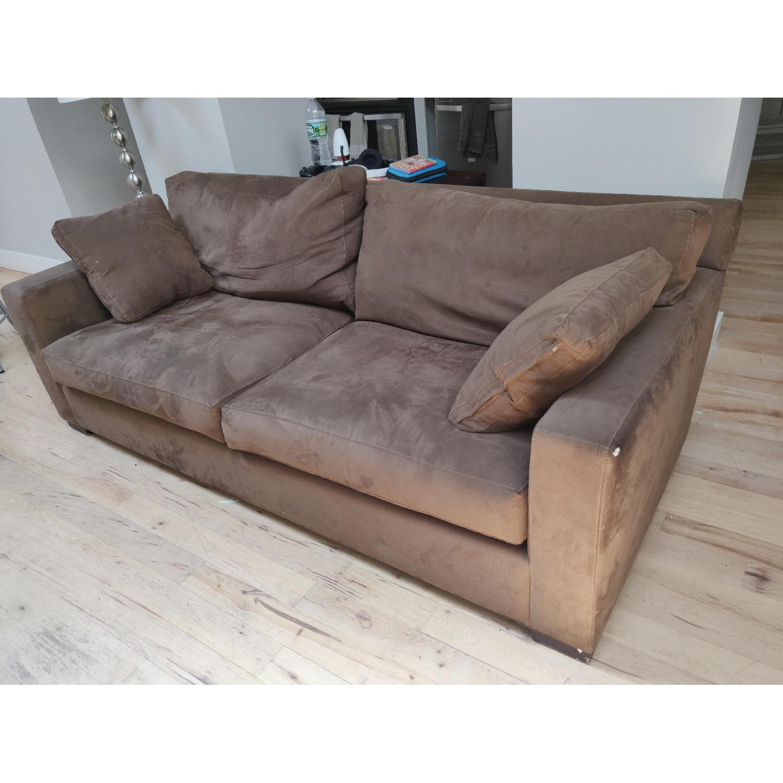 Crate & Barrel Axis II Suede Sofa - image-2