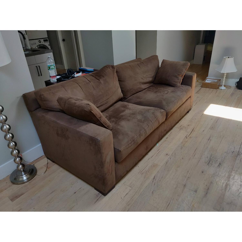 Crate & Barrel Axis II Suede Sofa - image-3