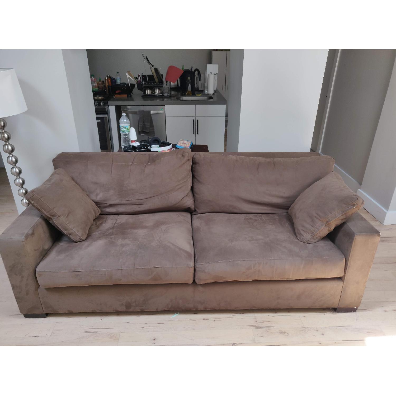 Crate & Barrel Axis II Suede Sofa - image-4