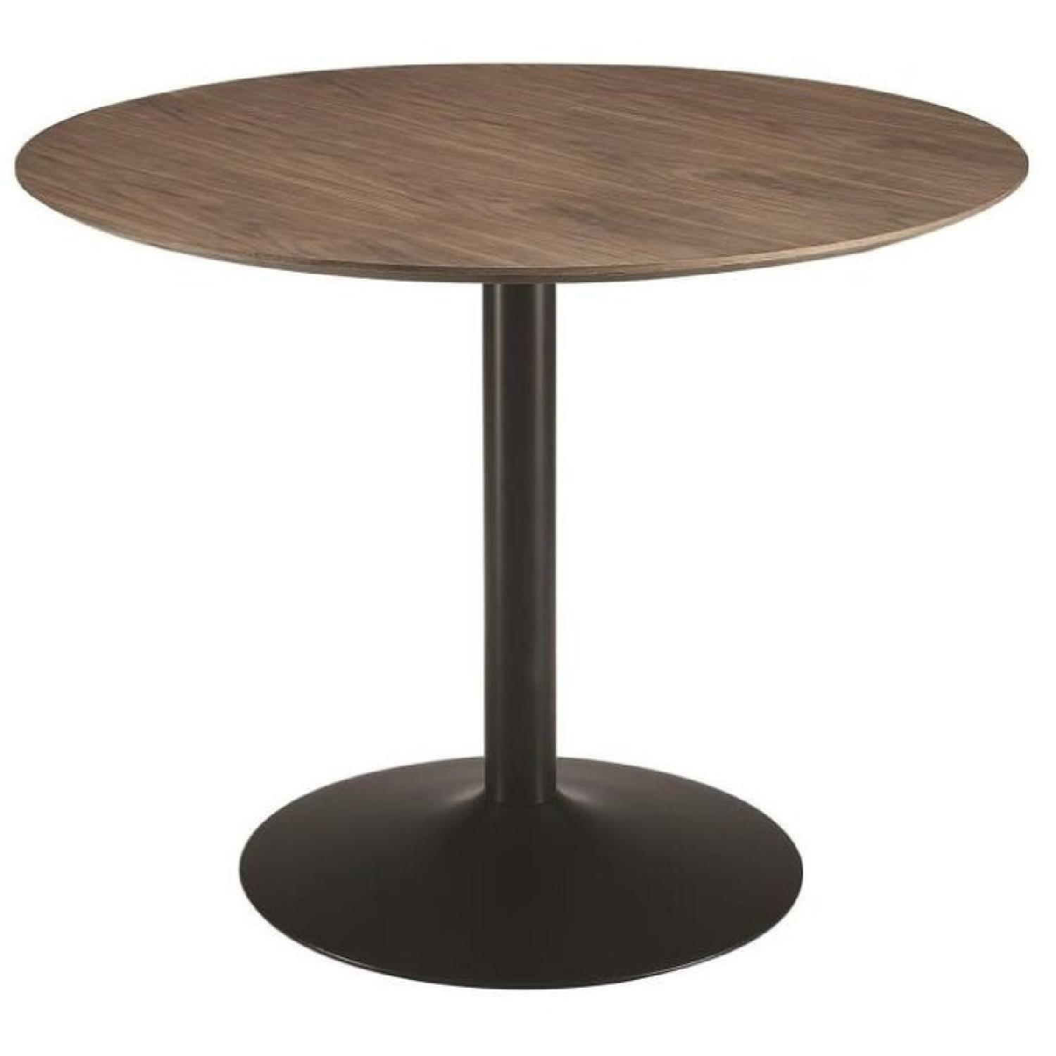Modern Dining Table w/ Walnut Finish Top & Black Metal Base - image-0