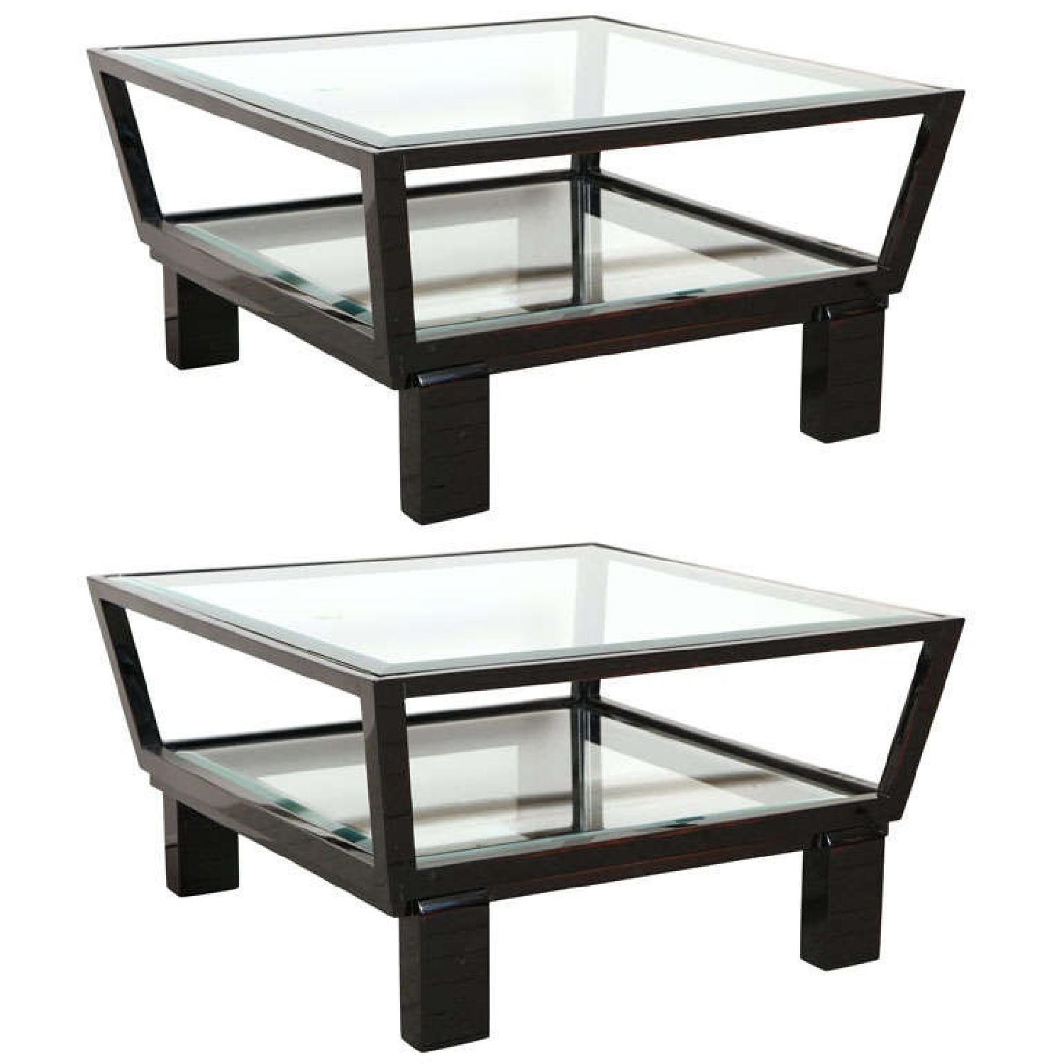 Black & Glass Top Side Tables - image-0