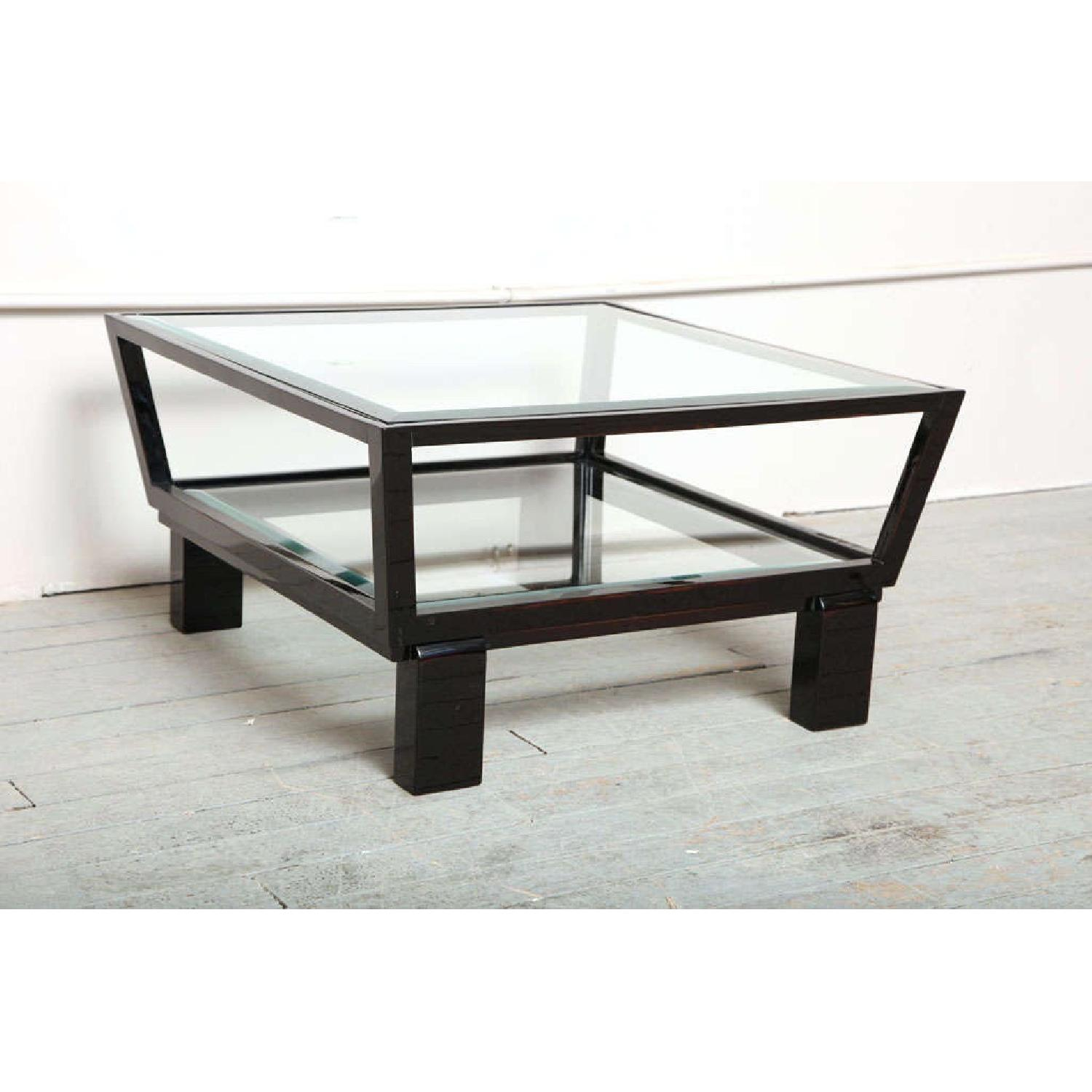 Black & Glass Top Side Tables - image-1