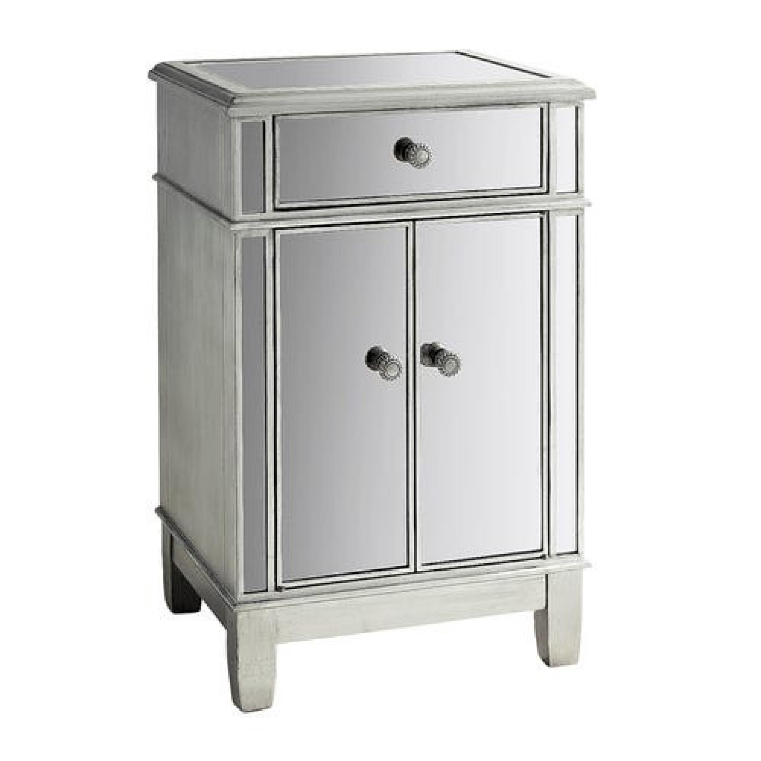 Pier 1 Imports Mirrored Silver Bedside Chest - image-0