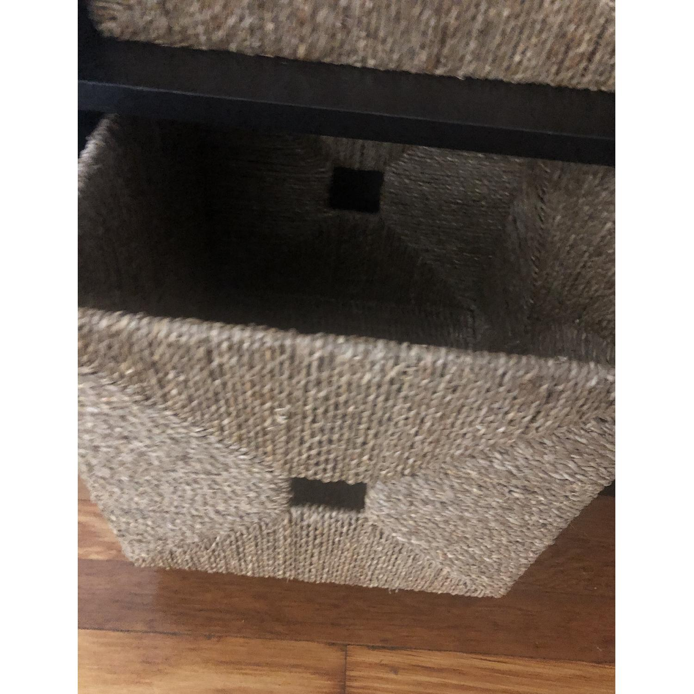 Ikea Shelving Unit w/ 4 Wicker Storage Baskets - image-3