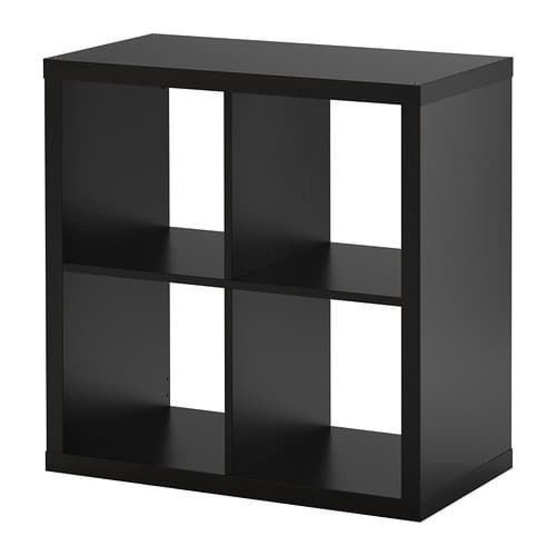 Ikea Shelving Unit w/ 4 Wicker Storage Baskets - image-0