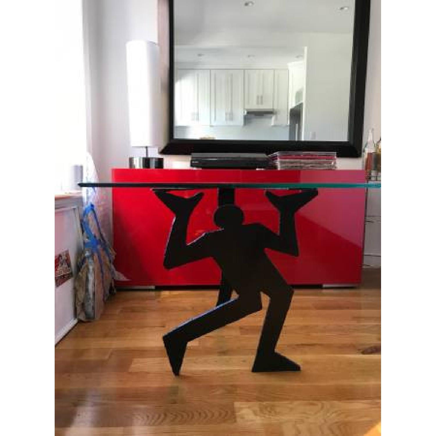 Keith Haring inspired Triangle Glass Side Tables - image-0