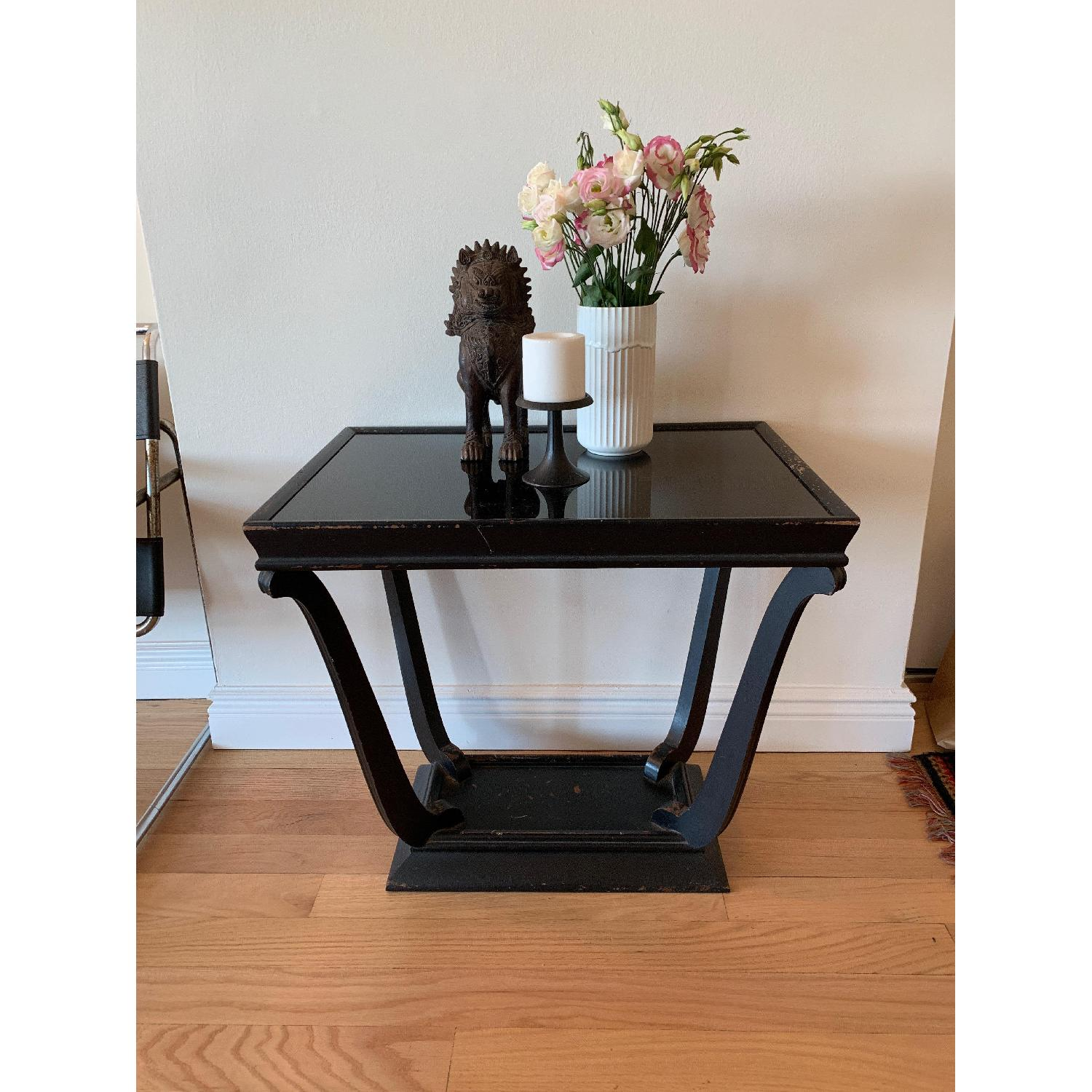 Wood & Glass Top Antique End Table - image-1