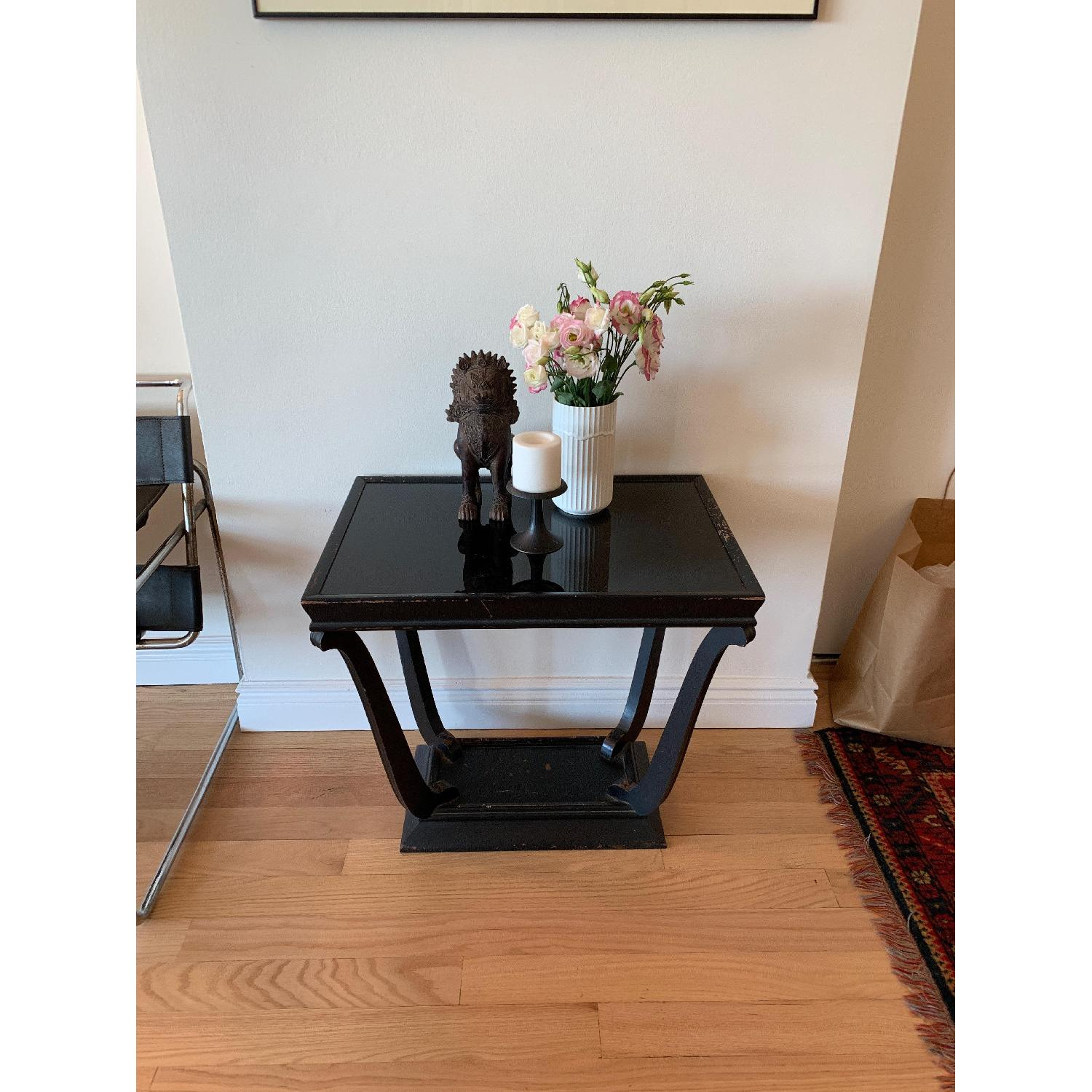 Wood & Glass Top Antique End Table - image-2
