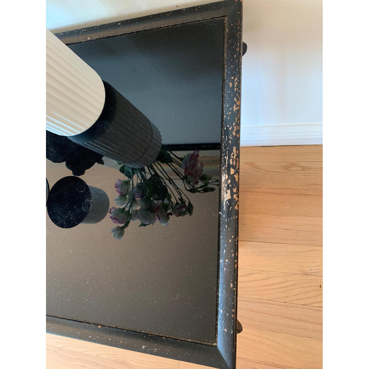 Wood & Glass Top Antique End Table - image-4