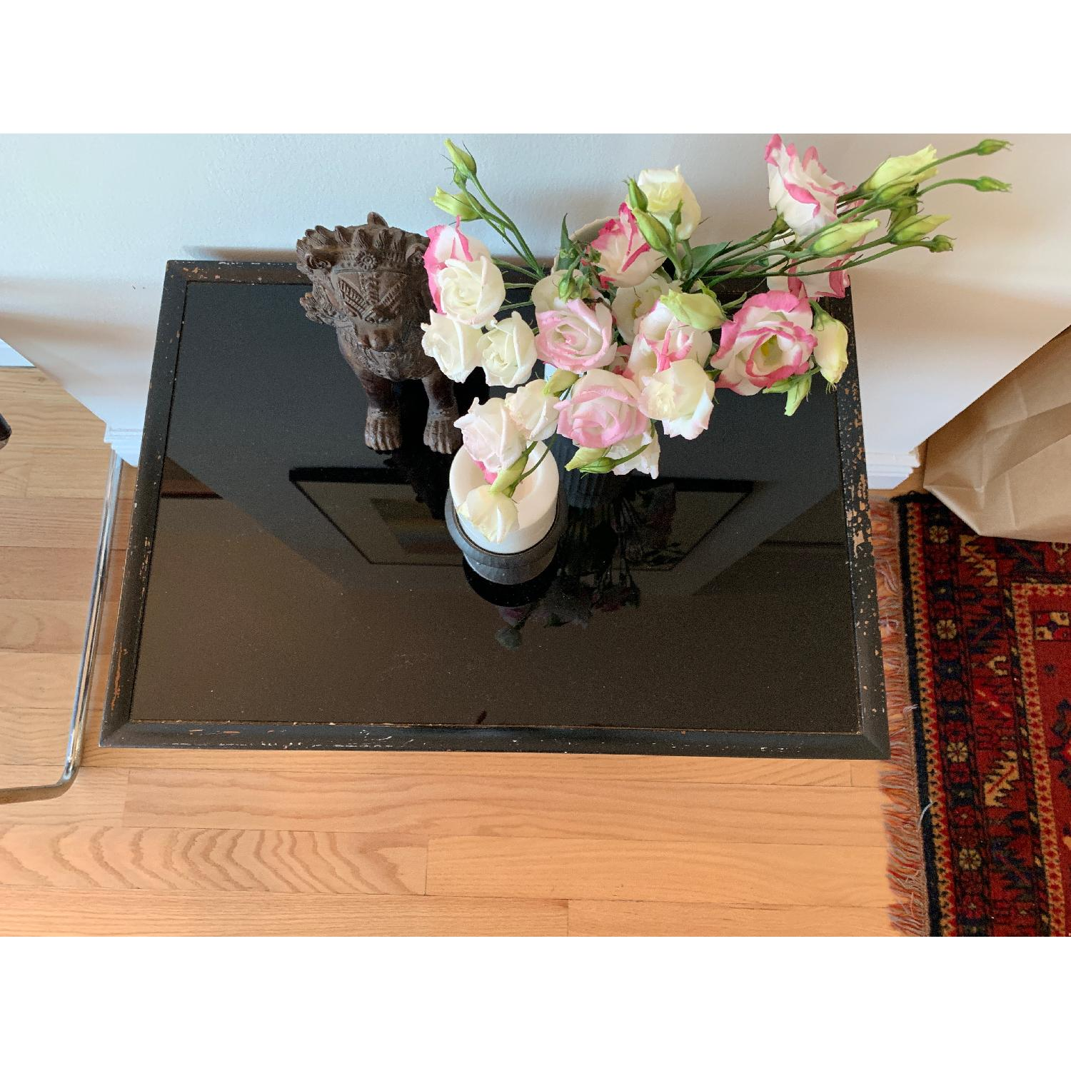 Wood & Glass Top Antique End Table - image-3