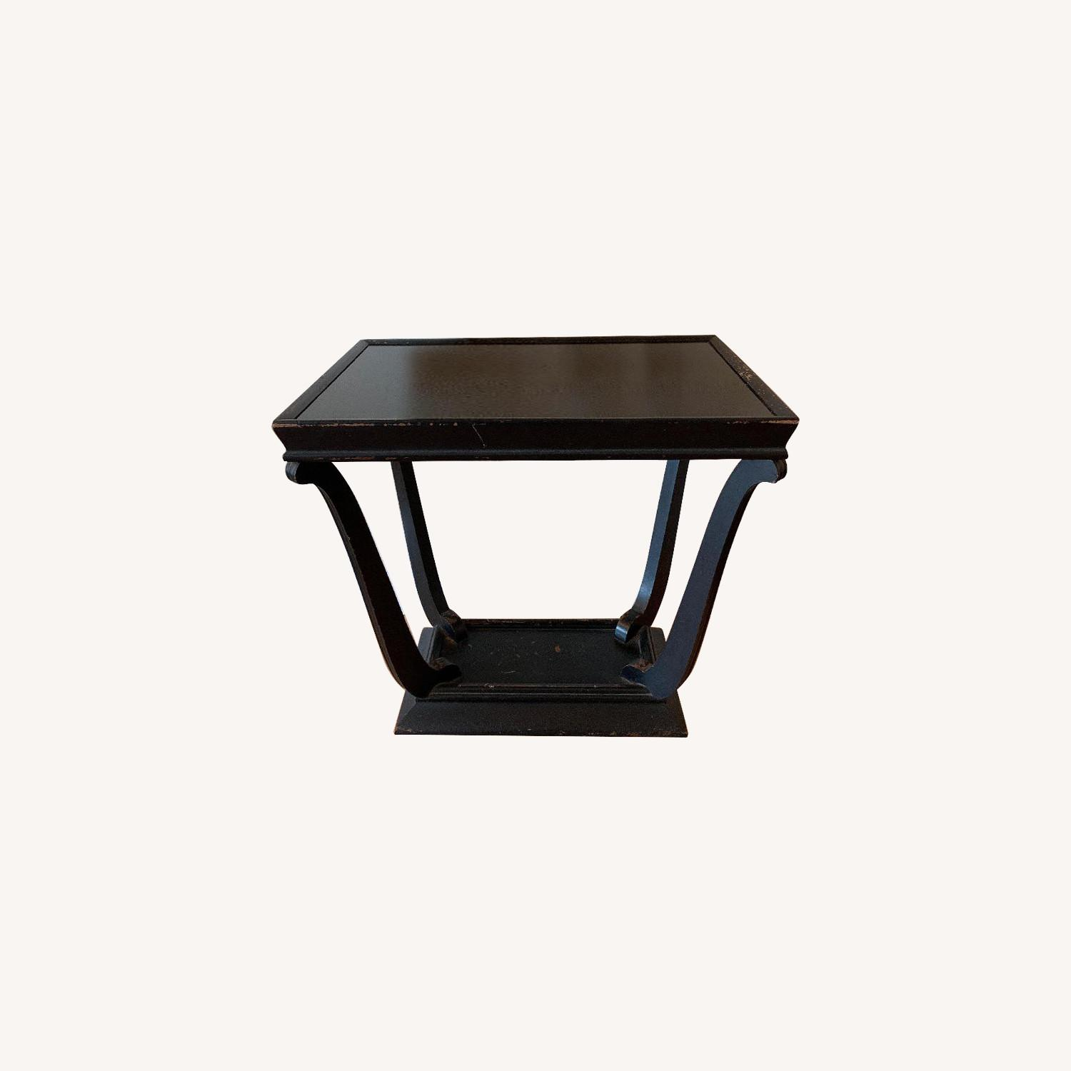 Wood & Glass Top Antique End Table - image-0