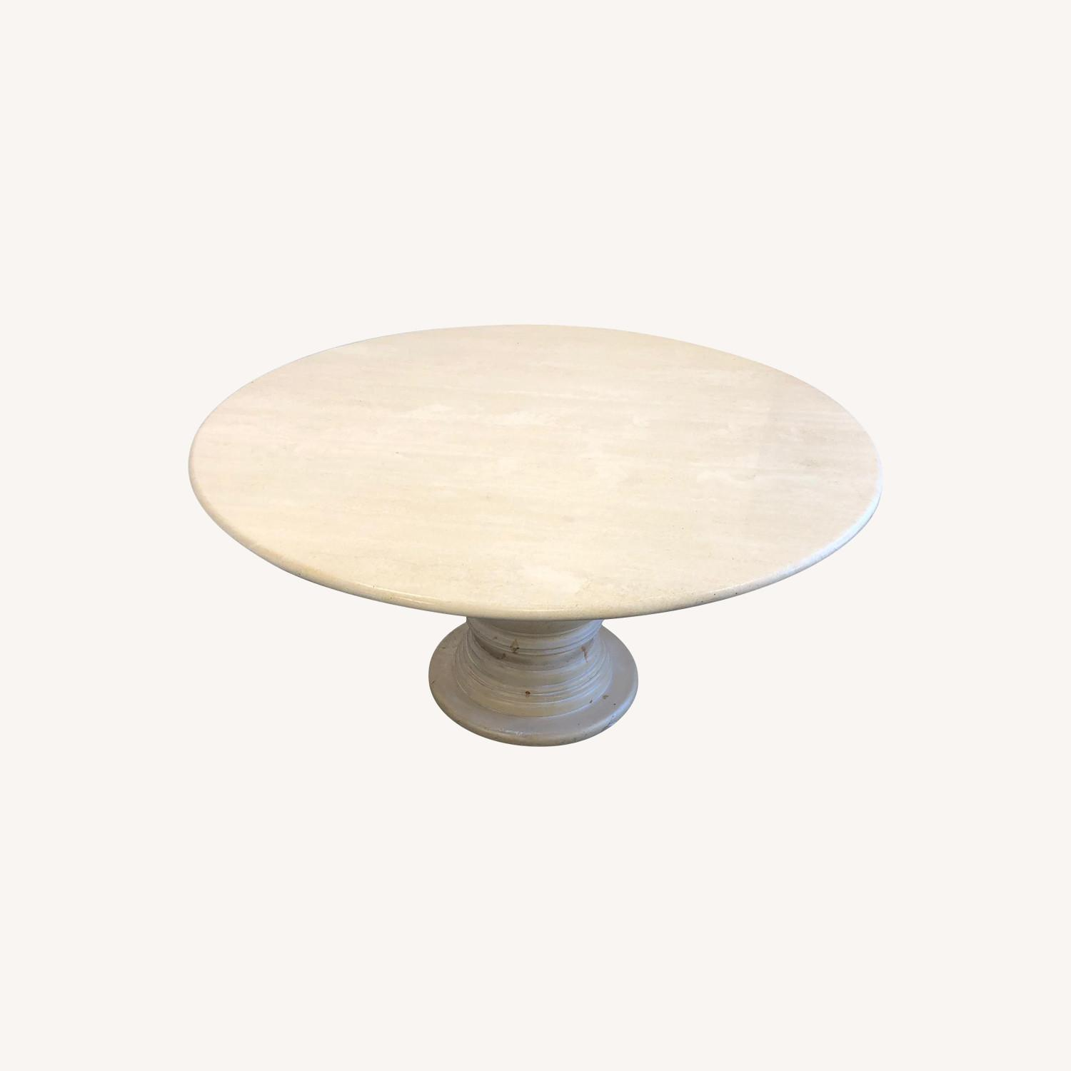 Travertine Marble Dining Table - image-0