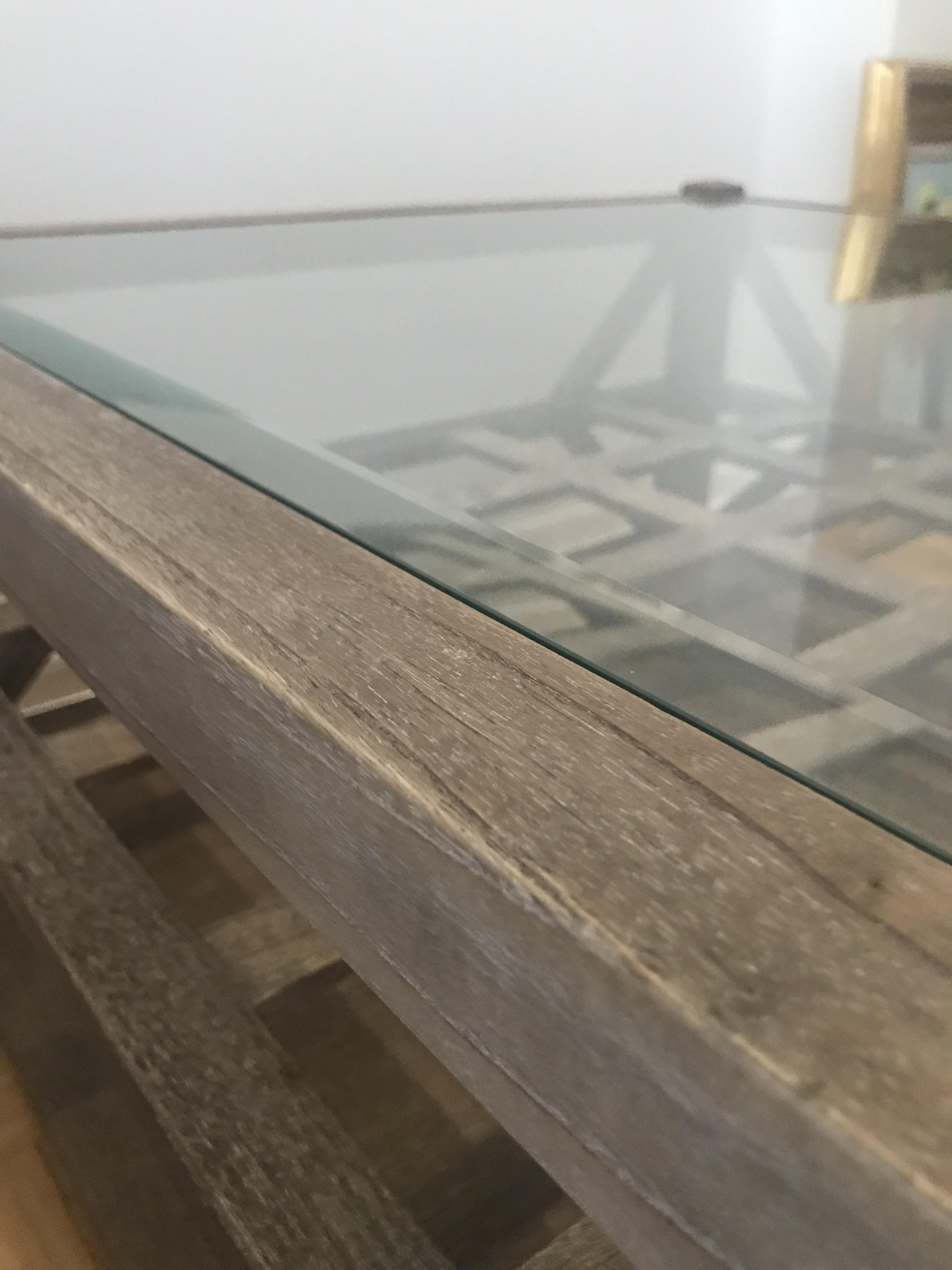 Arhaus Washed Wood Coffee Table w/ Glass Top