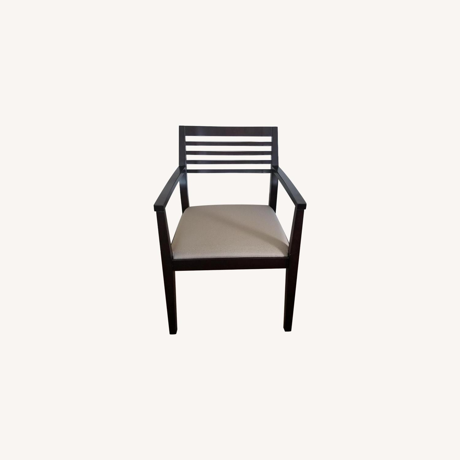 Wooden Office Chair w/ Cream Cushion - image-0
