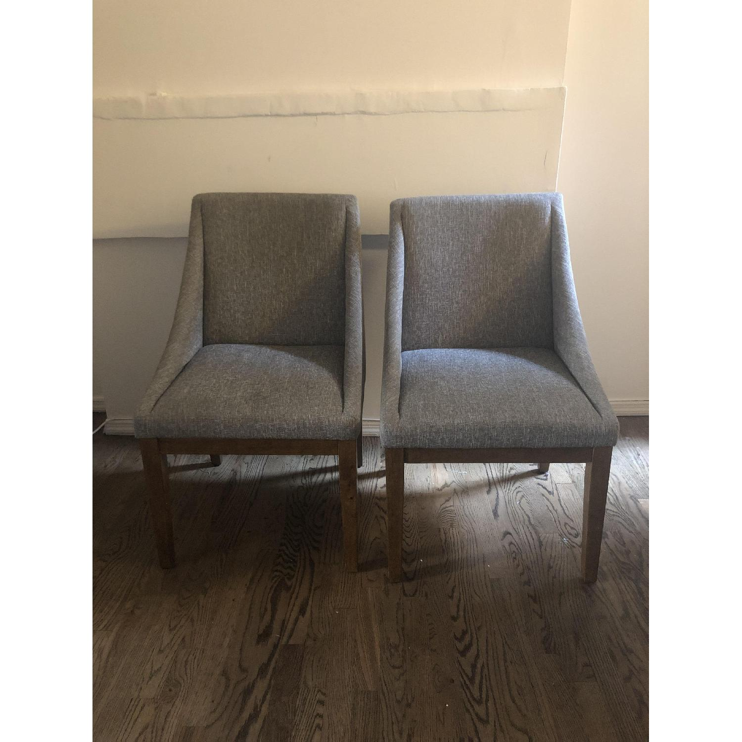 West Elm Curved Upholstered Chairs - image-3