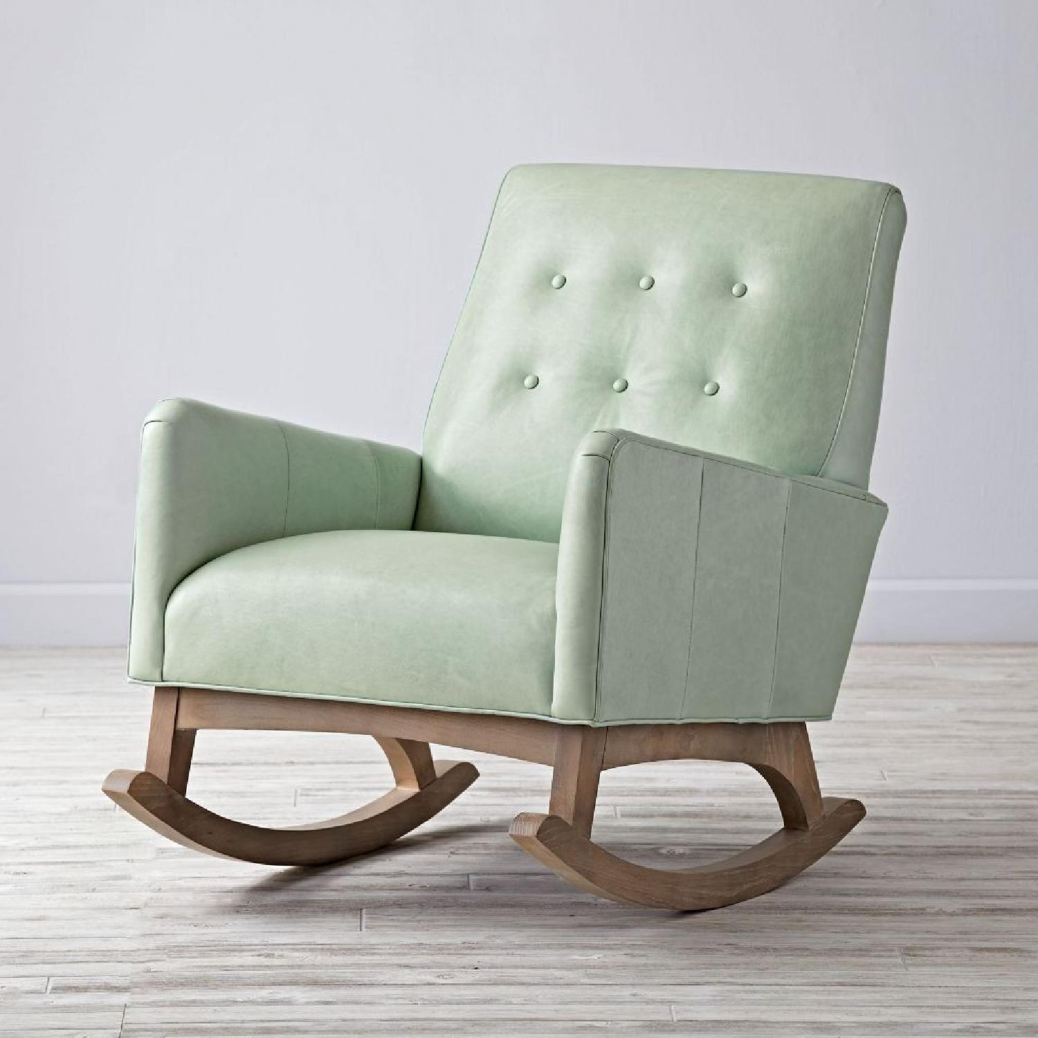 Crate & Barrel Everly Sage Leather Rocking Chair - image-0