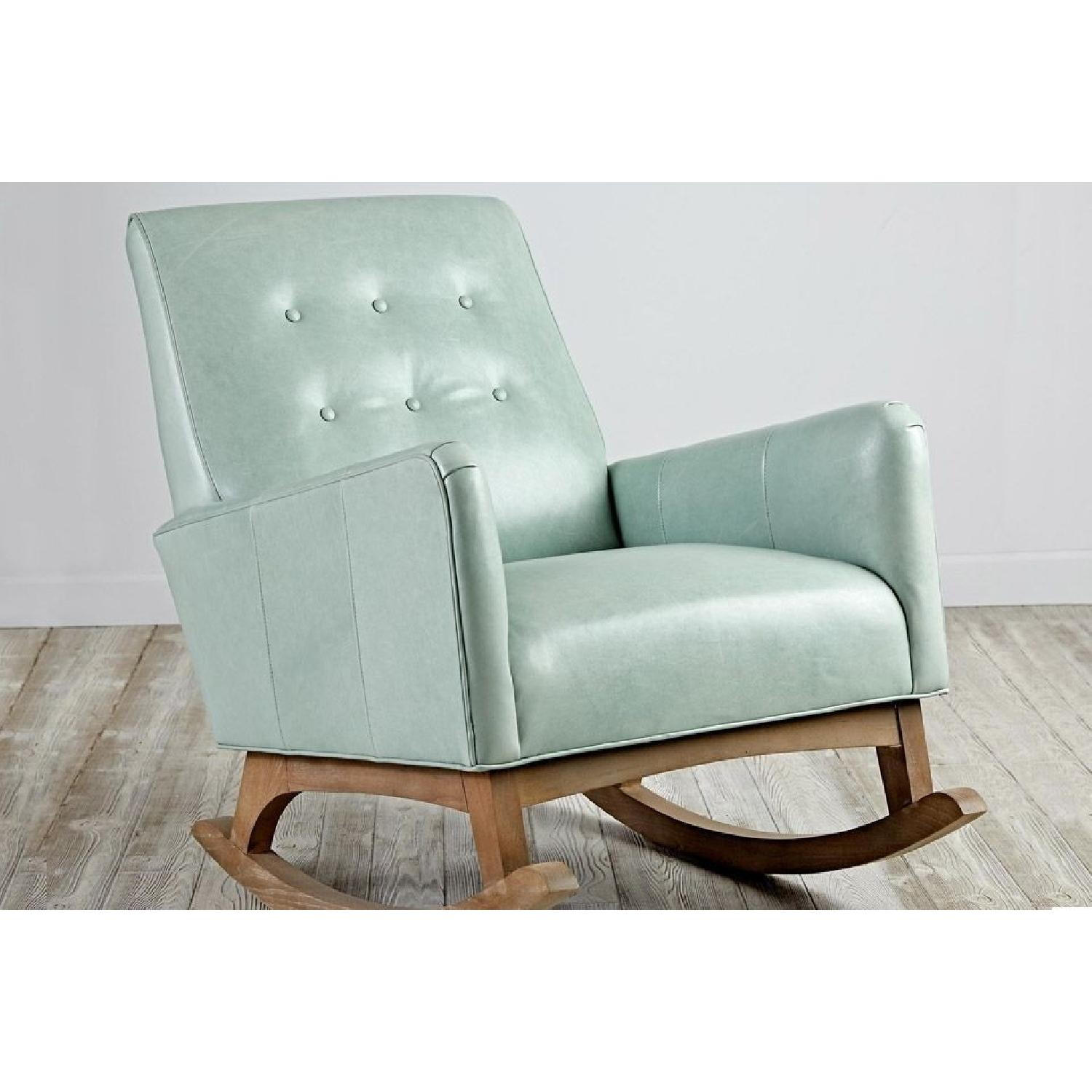 Crate & Barrel Everly Sage Leather Rocking Chair - image-1