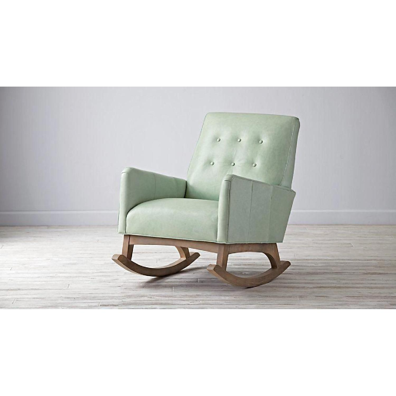 Crate & Barrel Everly Sage Leather Rocking Chair - image-2