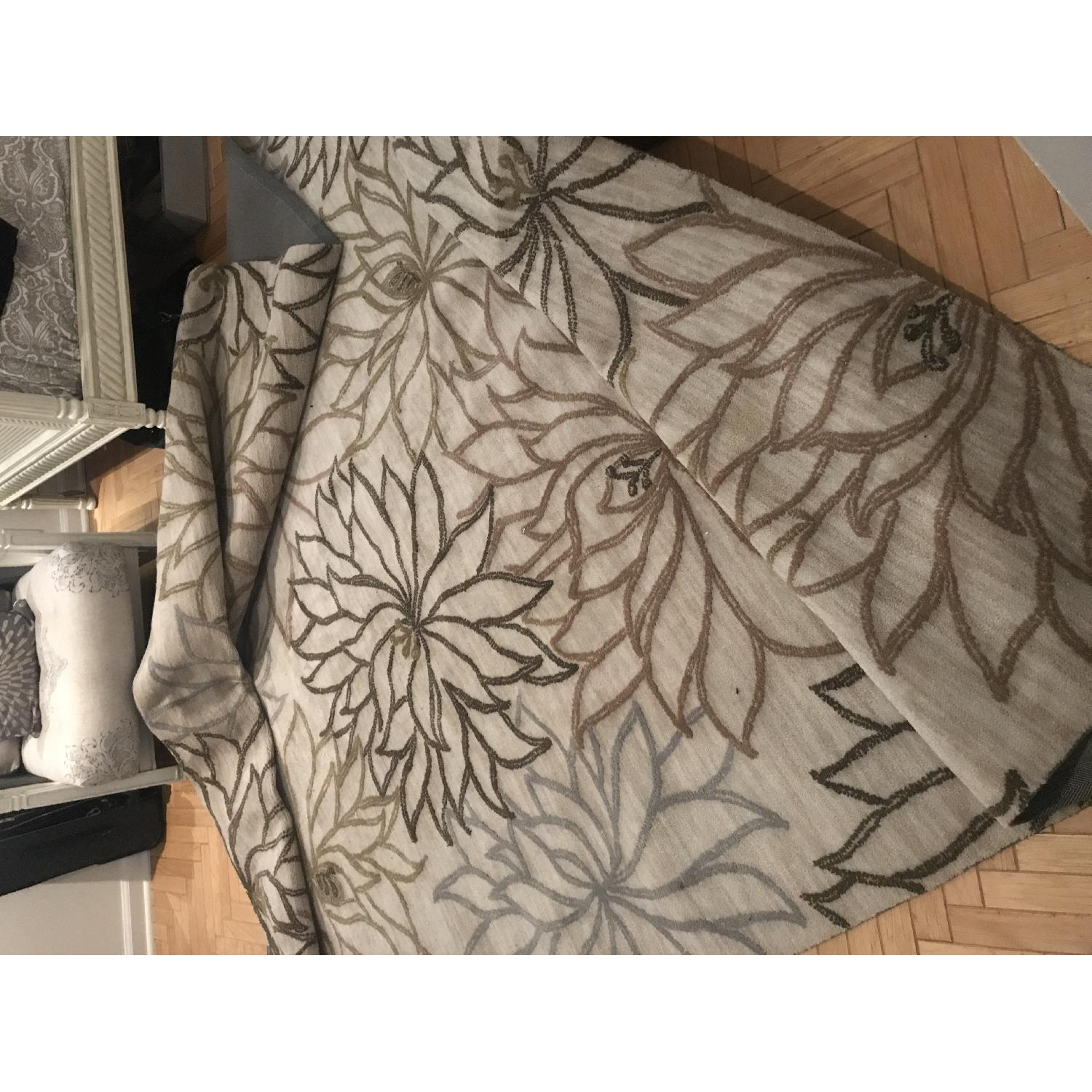 Surya Neutral Gray Area Rug w/ Floral Design - image-1
