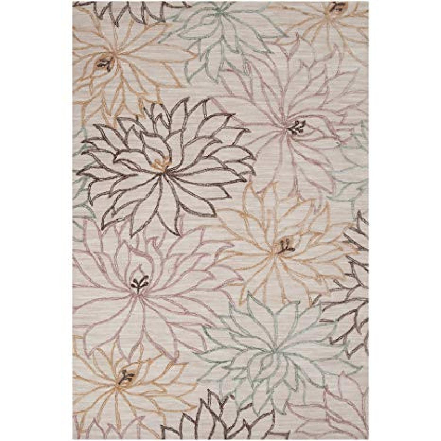Surya Neutral Gray Area Rug w/ Floral Design - image-0
